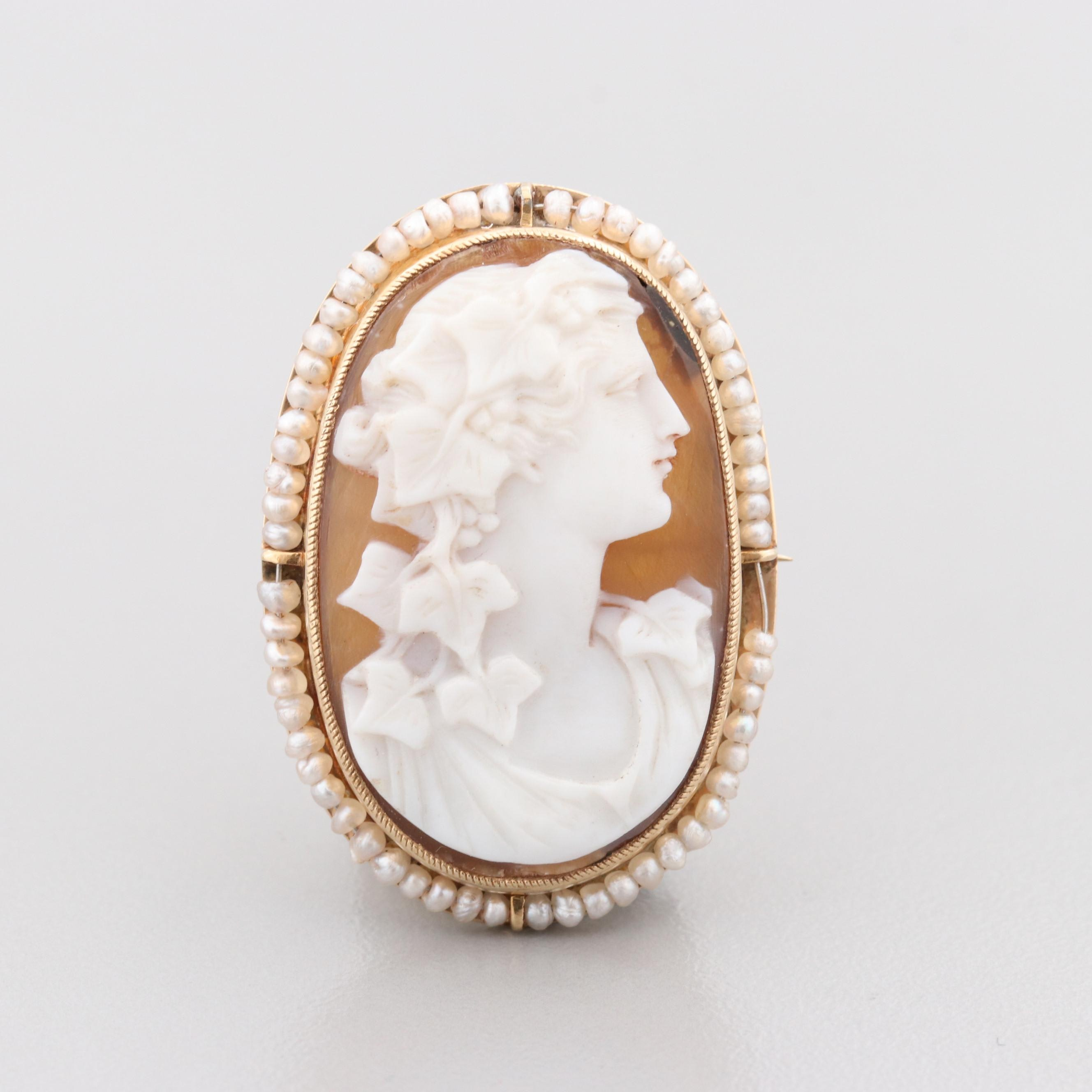 Vintage 14K Yellow Gold Sardonyx and Seed Pearl Cameo Brooch