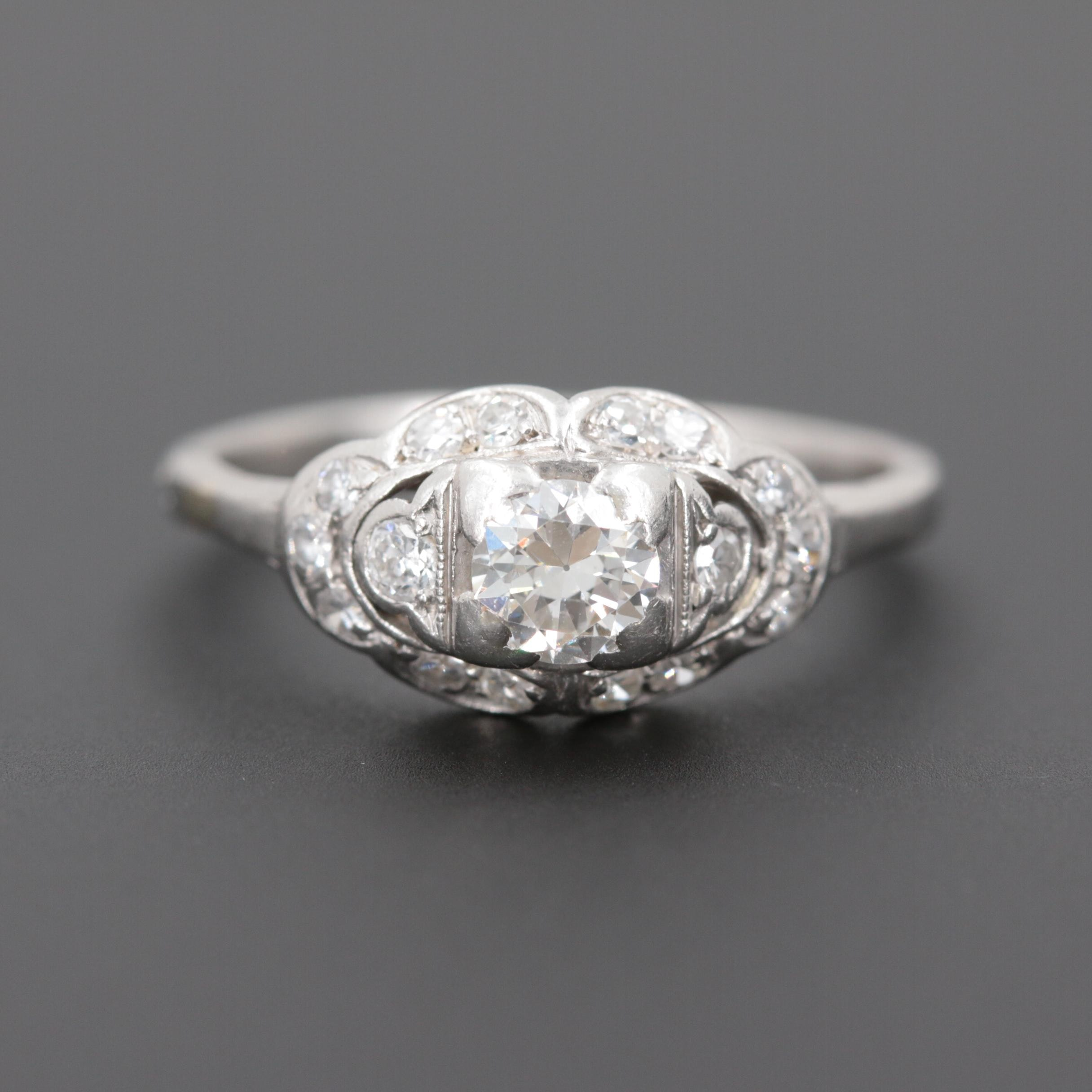 Circa 1930s Platinum Diamond Ring