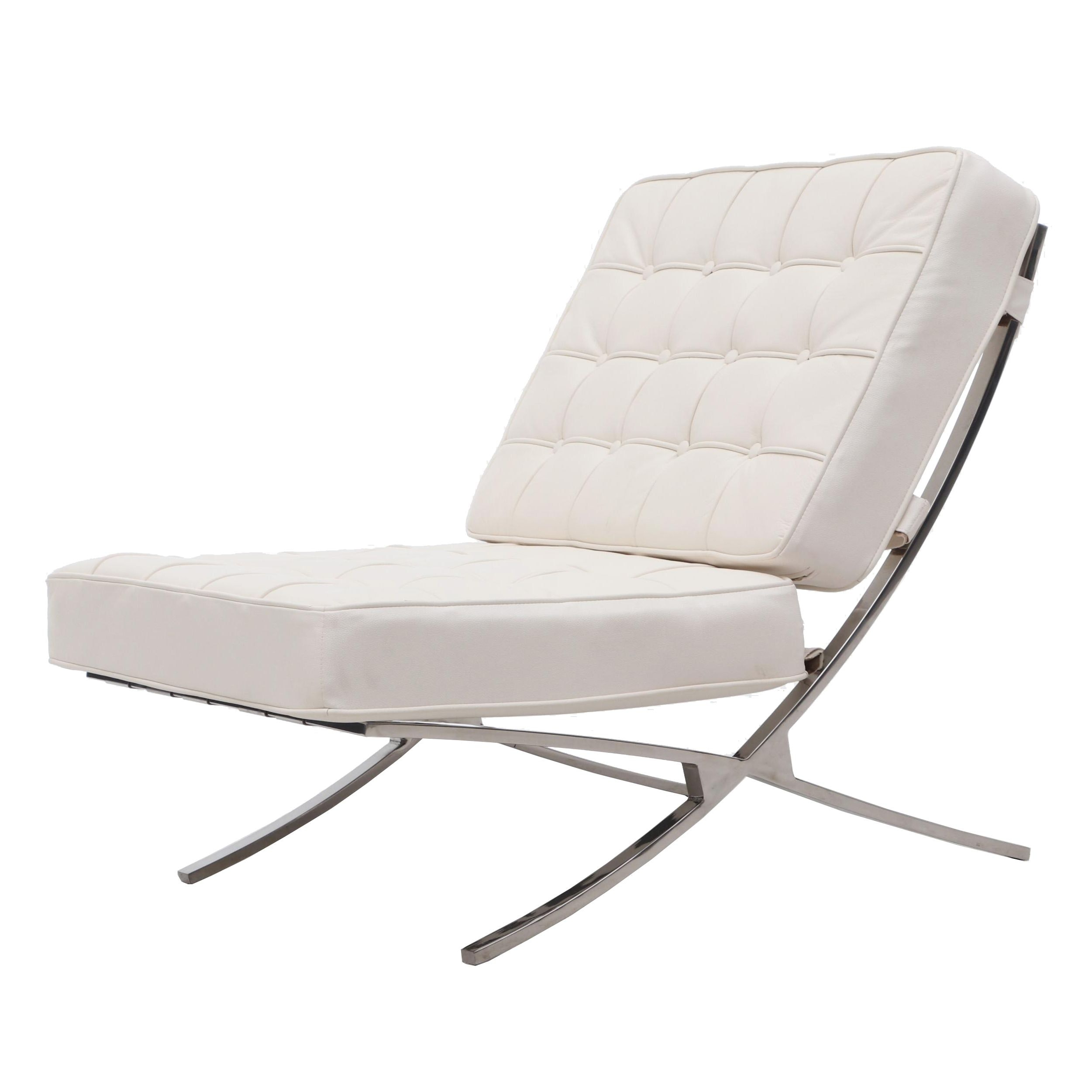 Contemporary Barcelona Lounger in White Leather