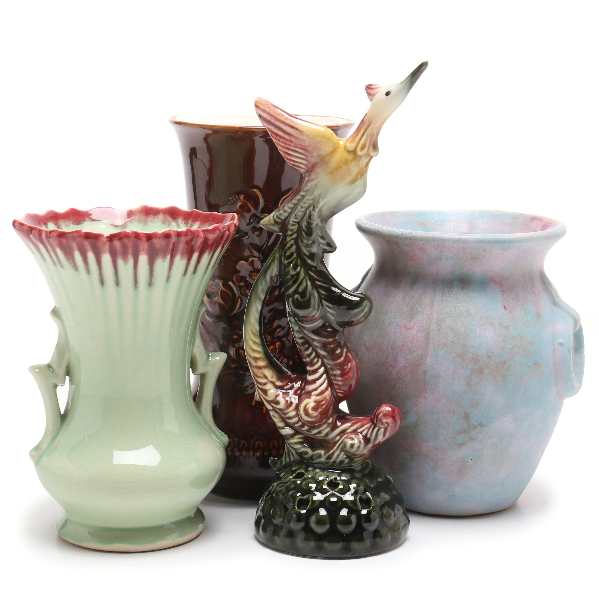 Mid-Century Vases Including McCoy and Burley Winter