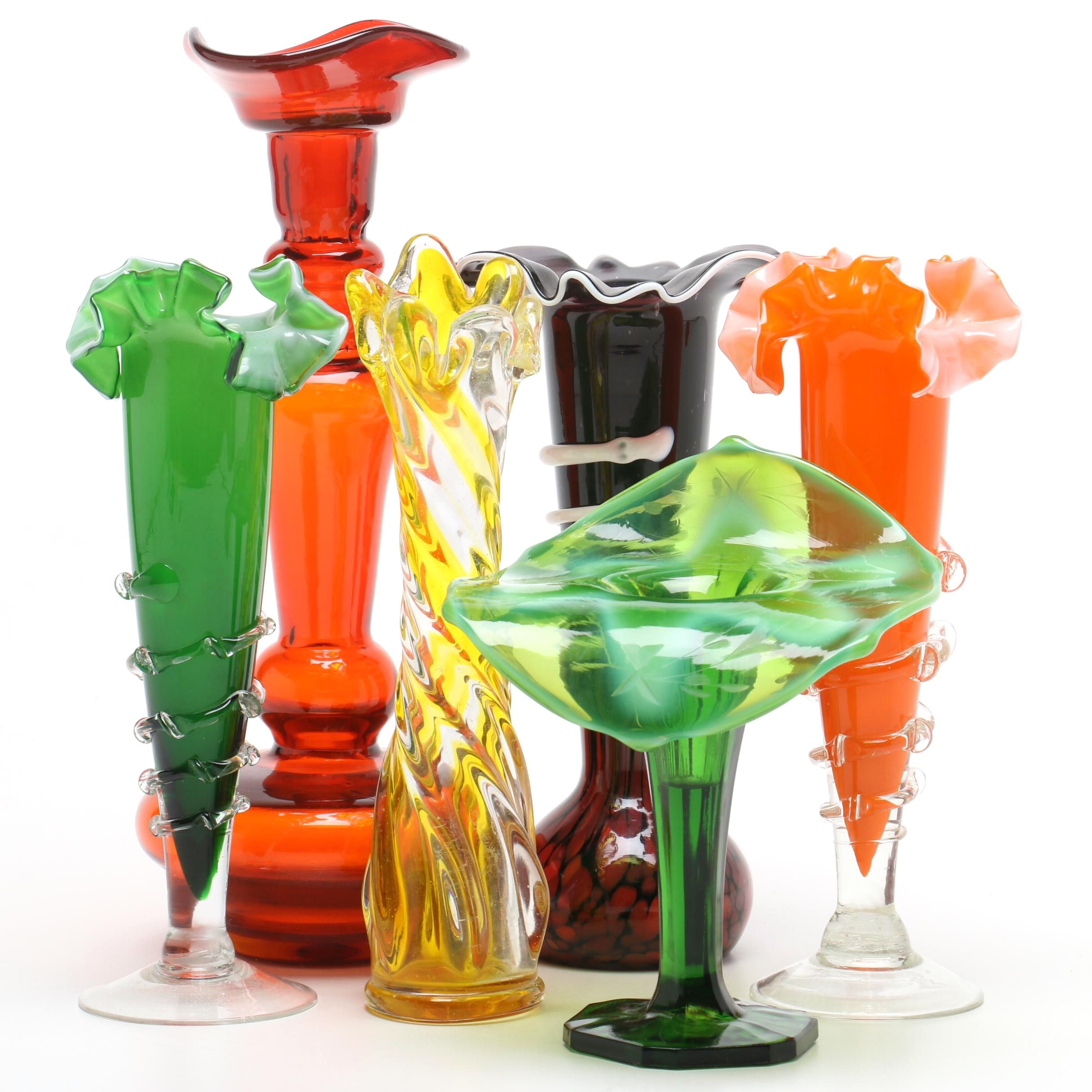 Blown Glass Vases with Ruffled and Scalloped Rims