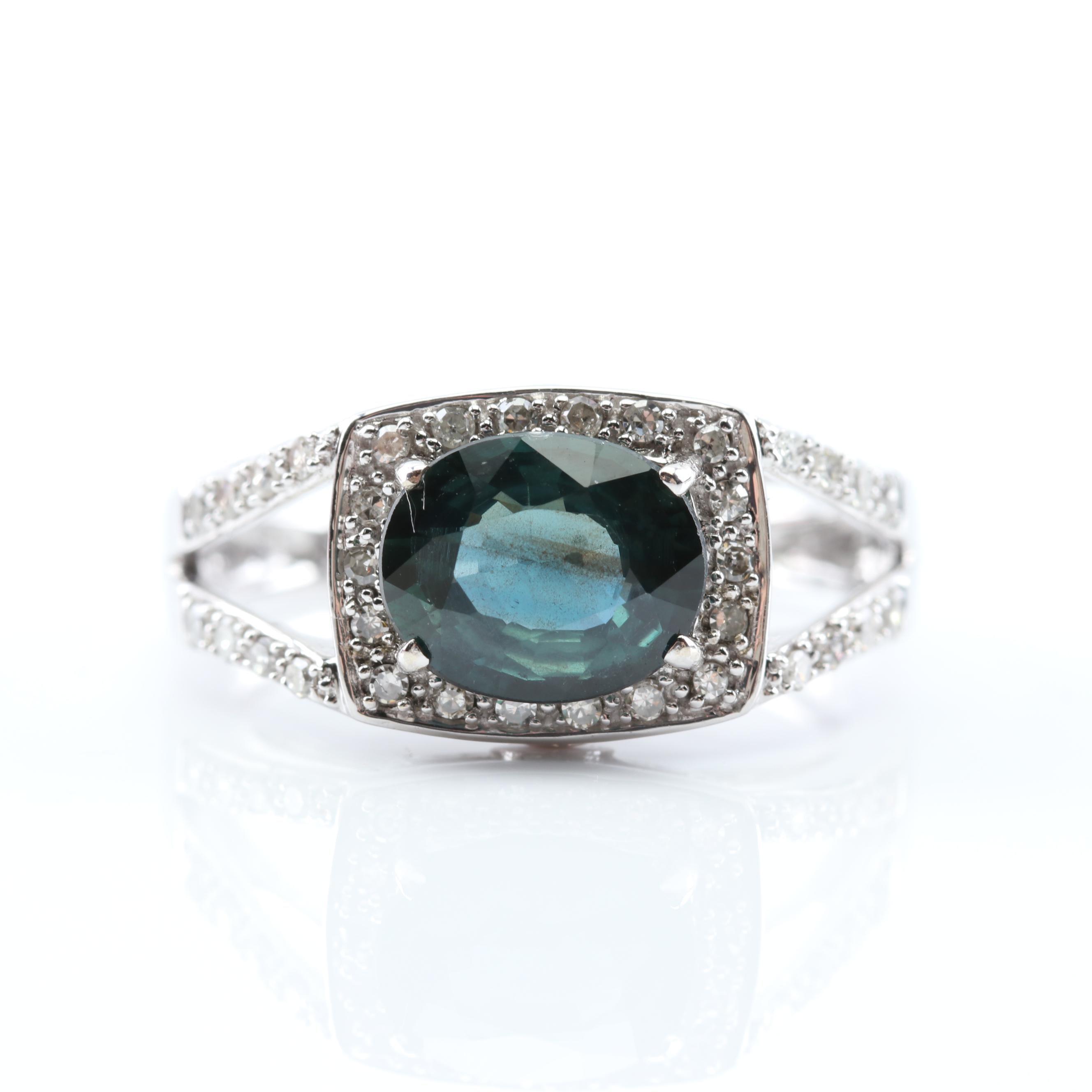 14K Yellow Gold Sapphire, Tourmaline and Diamond Halo Ring