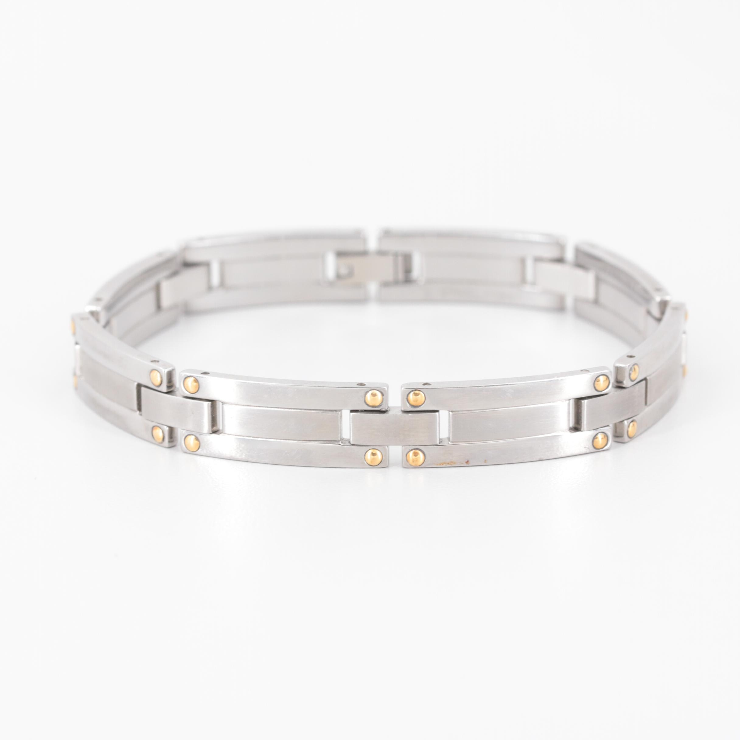 Stainless Steel and 18K Yellow Gold Bracelet