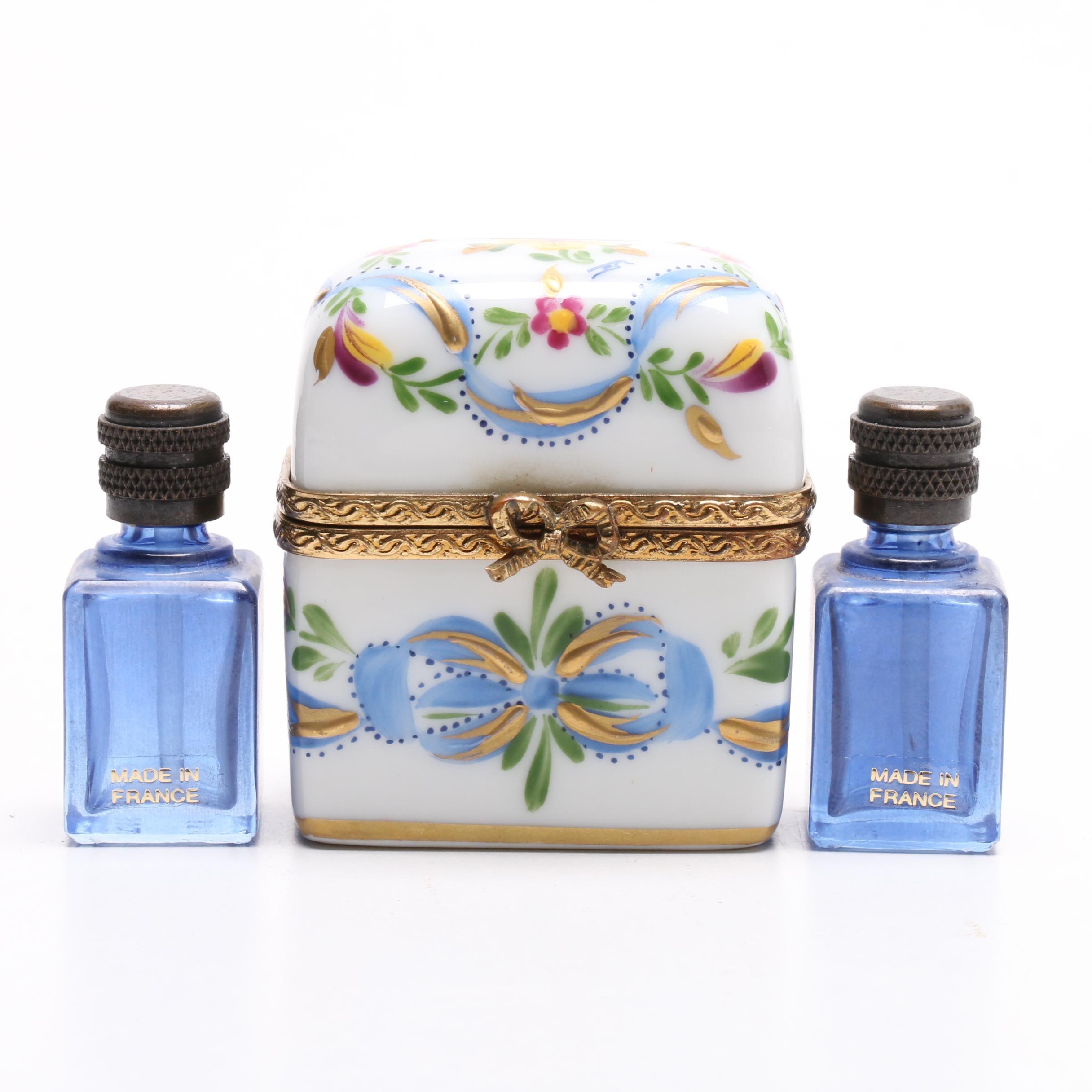 Limoges Porcelain Casket with Glass Perfume Bottles