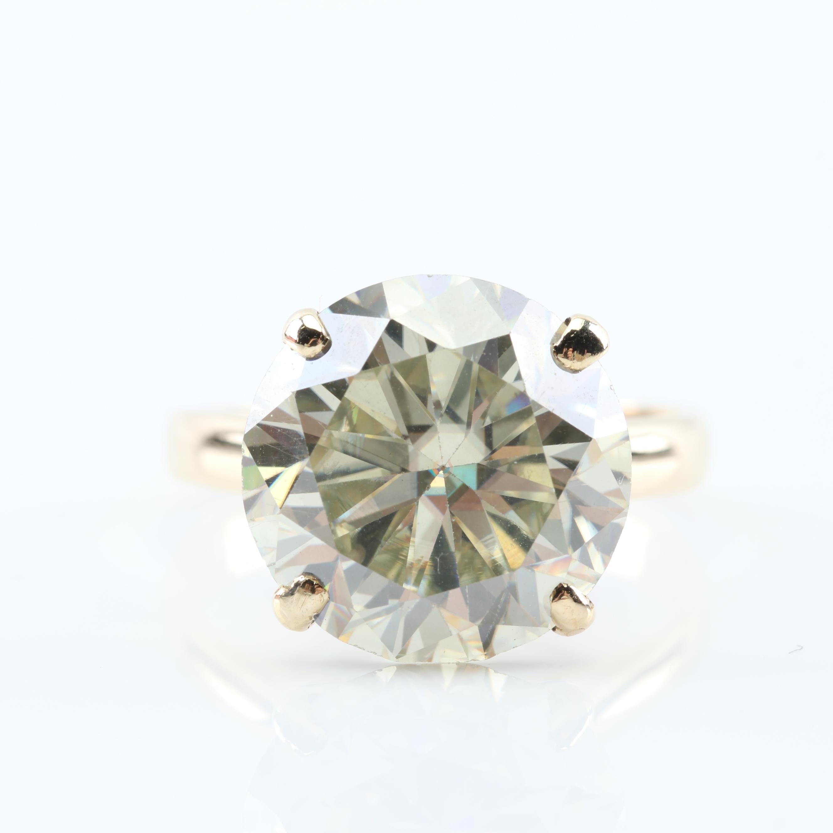 10K Yellow Gold Round Moissanite Ring