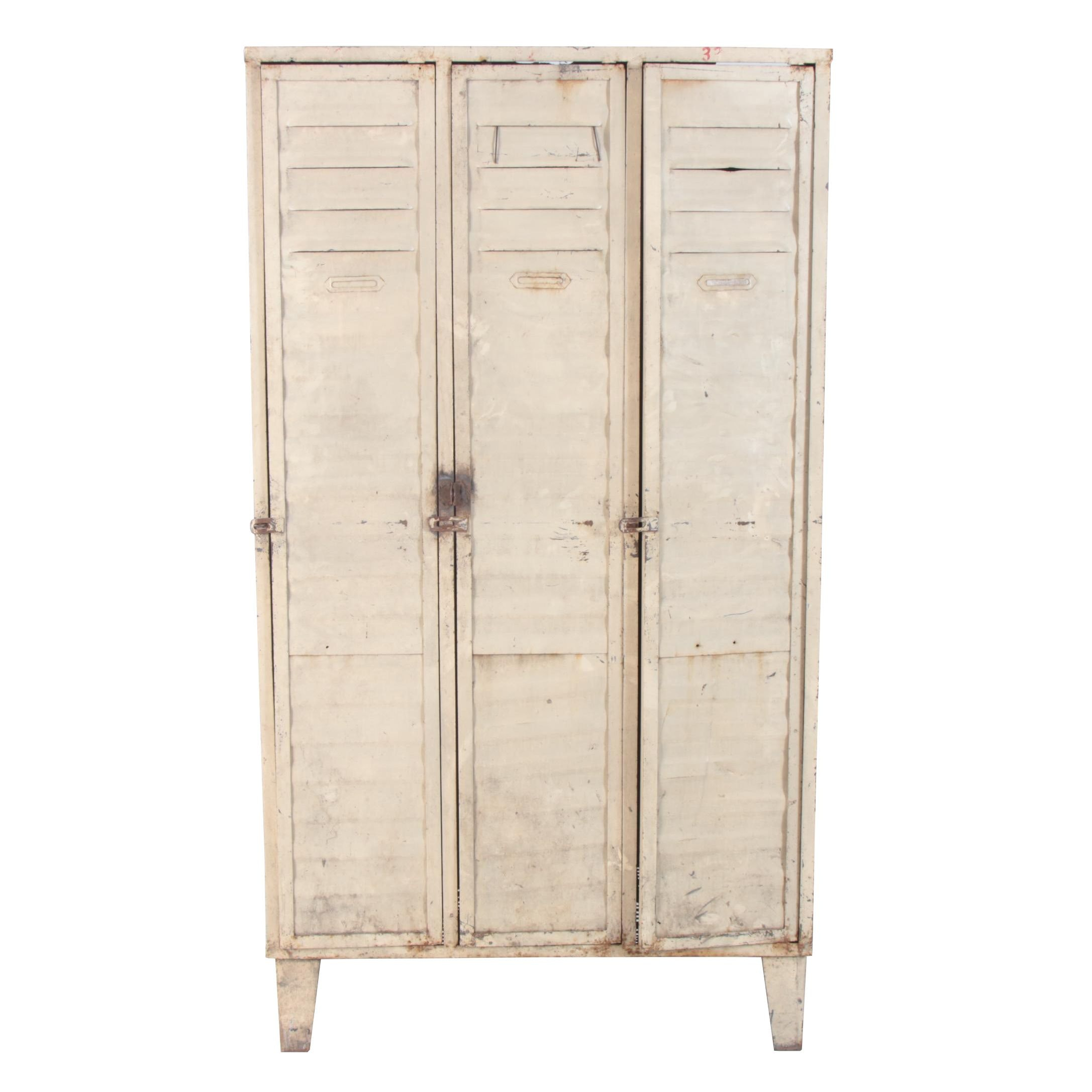 Industrial Painted Metal Locker Cabinet, Late 20th Century