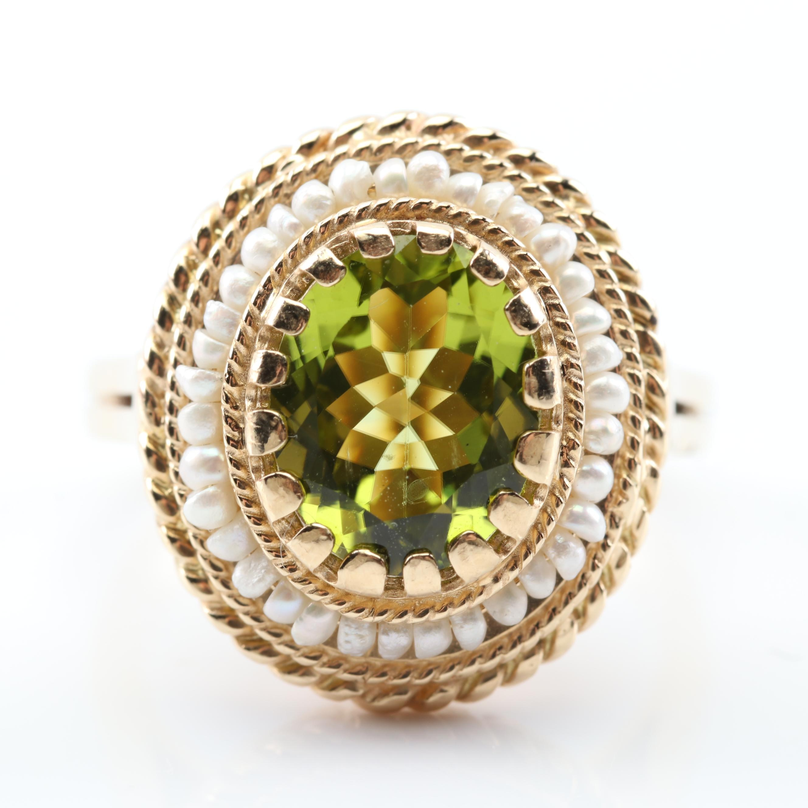 14K Yellow Gold Peridot and Seed Pearl Framed Ring