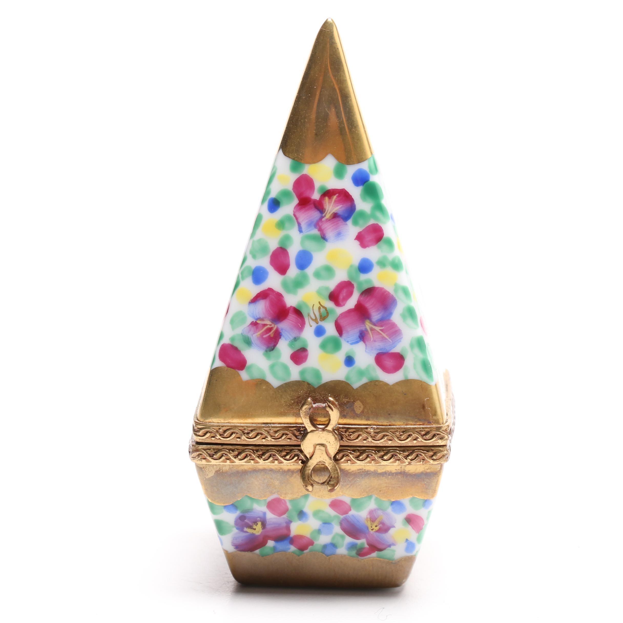 Limoges Porcelain Obelisk Trinket Box