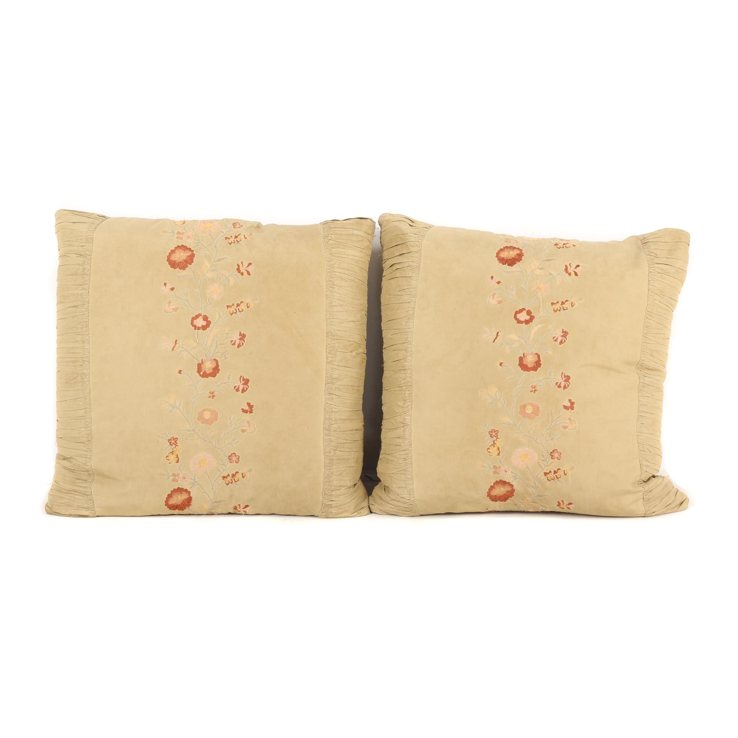 Embroidered Silk Accent Pillows with Down Filling