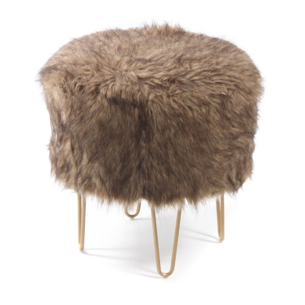 Hairpin Ottoman with Brown Faux Fur Upholstery