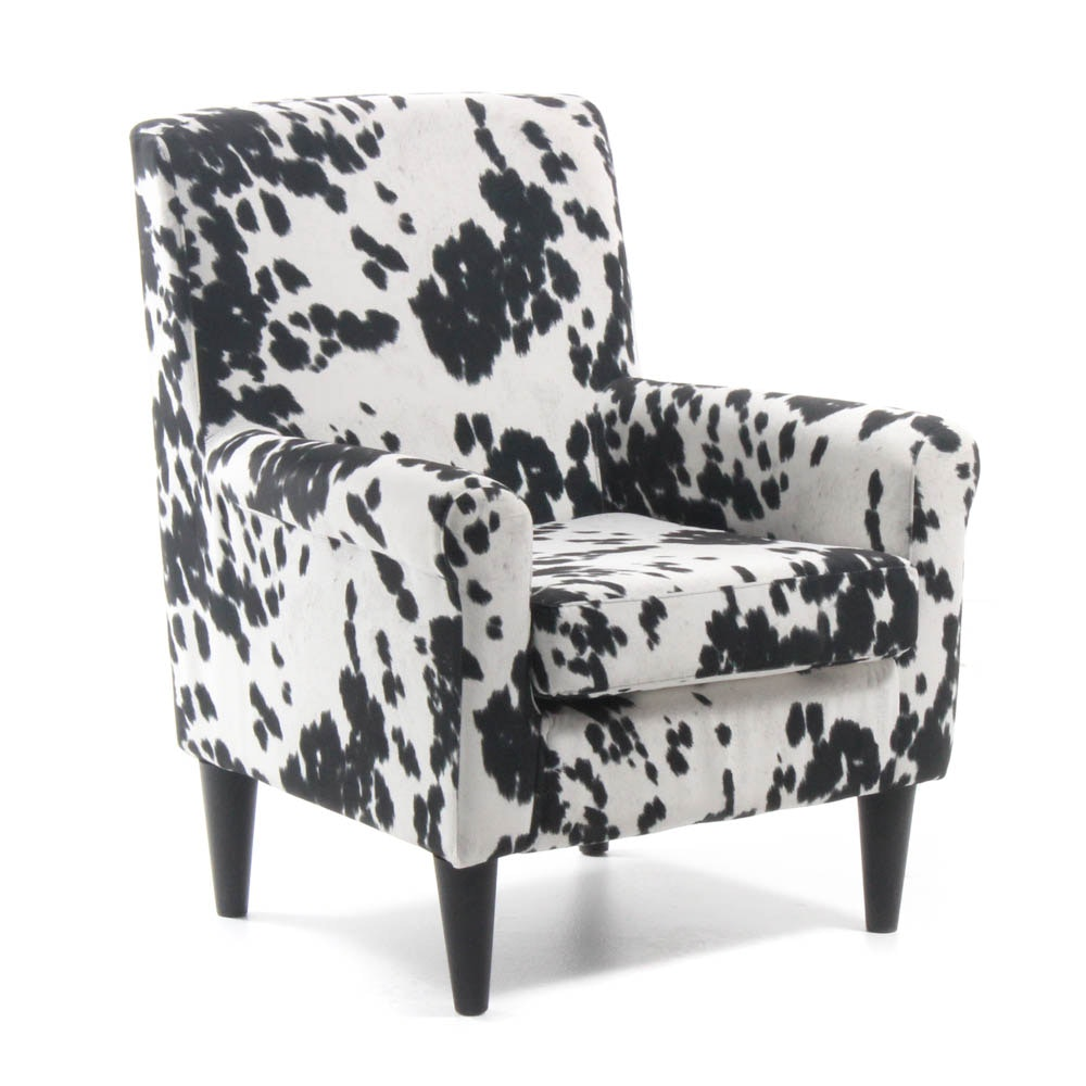Armchair with Cow Hide Print Upholstery