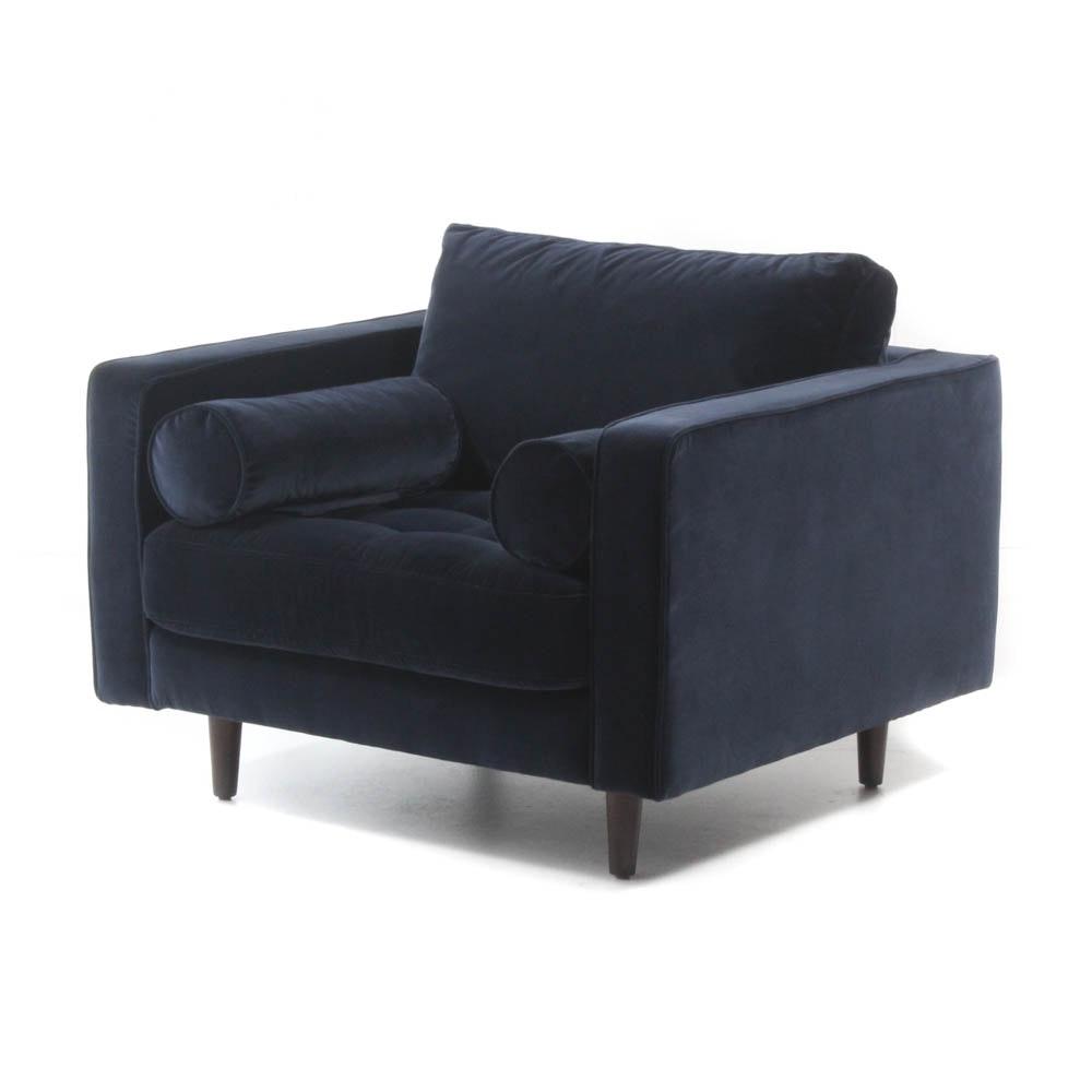 """Article """"Sven"""" Cascadia Blue Velvet Armchair"""