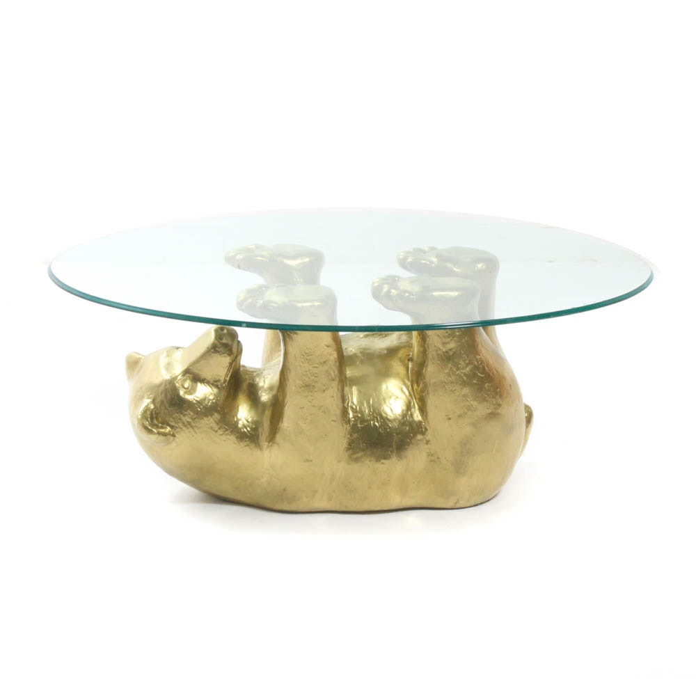 Golden Bear Glass Top Coffee Table