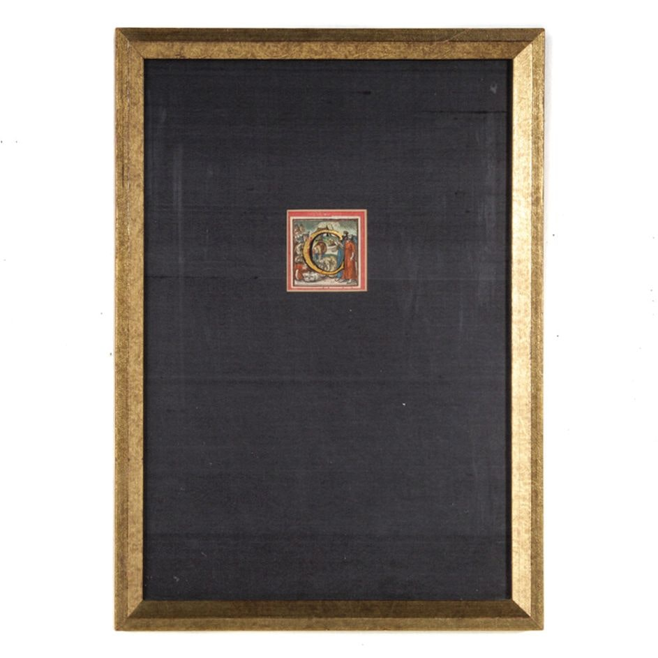 "16th Century Hand Colored Woodblock Initial ""C"""