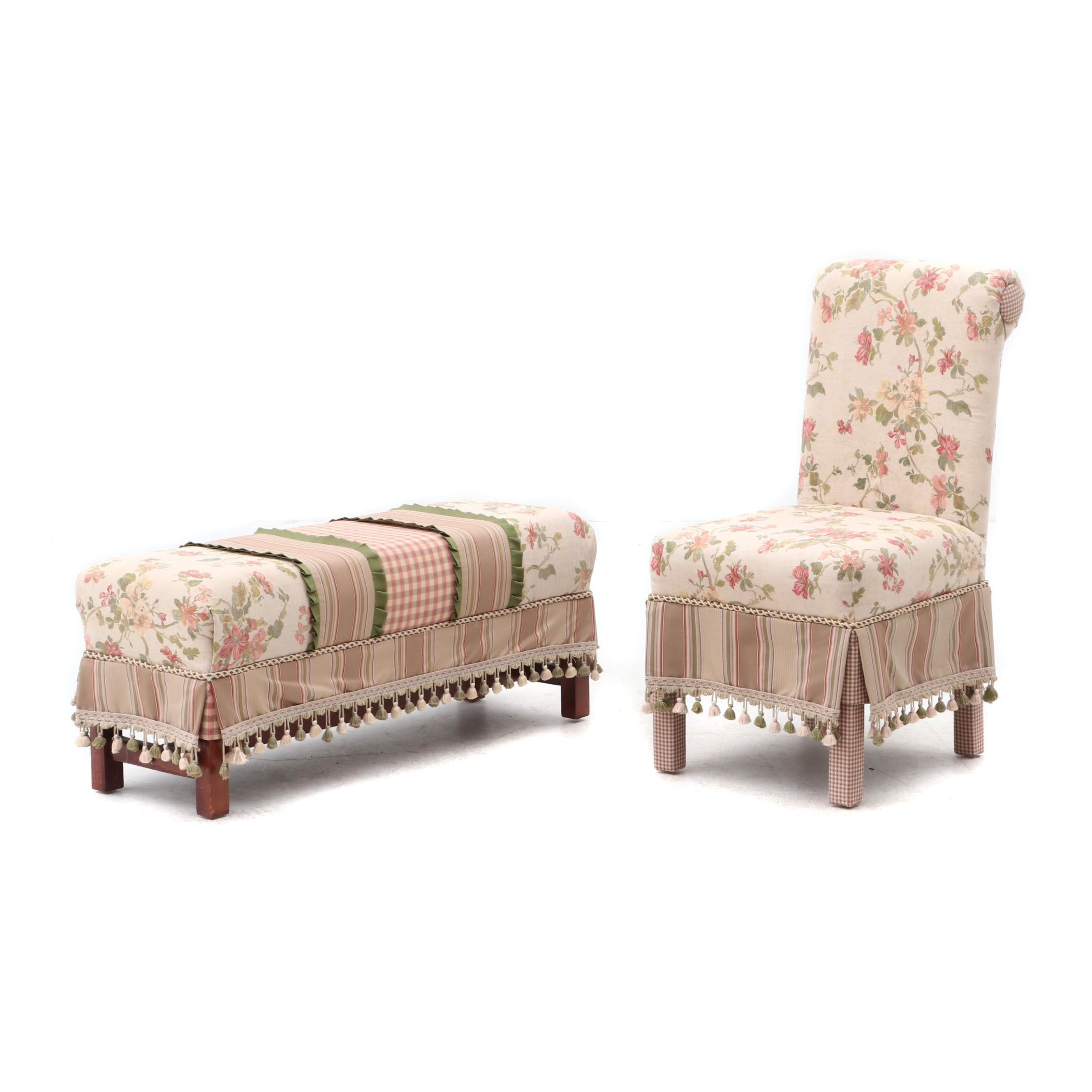 Upholstered Side Chair with Coordinating Bench