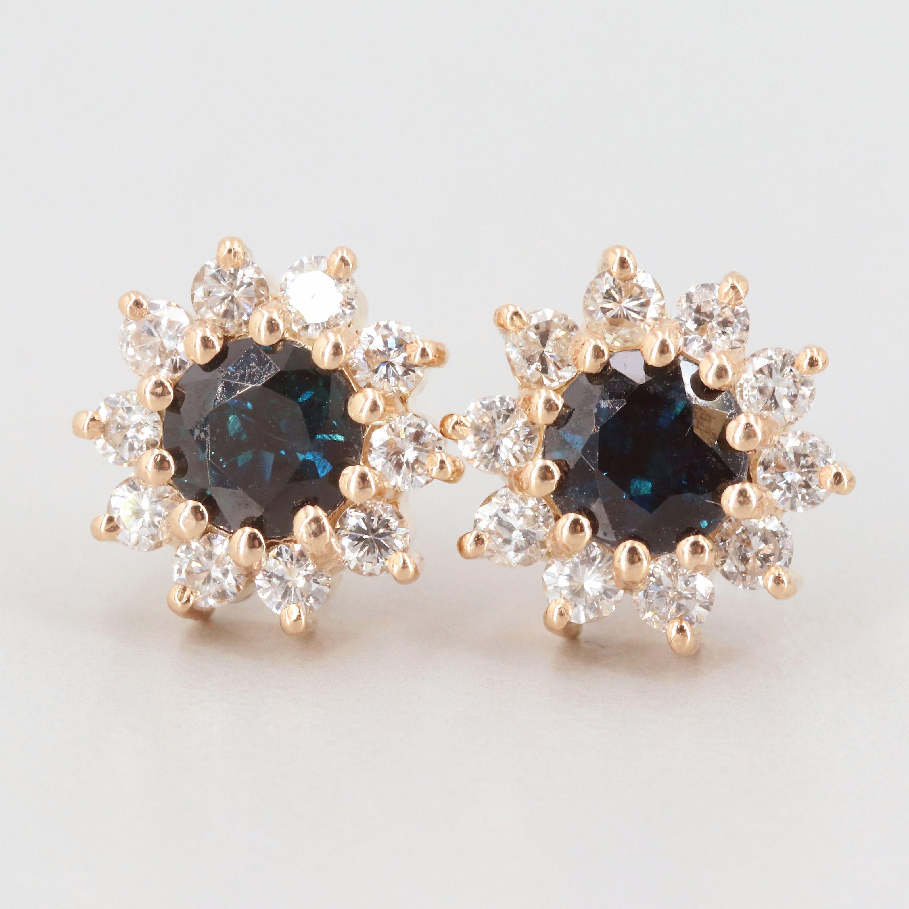 14K Yellow Gold Sapphire and Diamond Stud Earrings