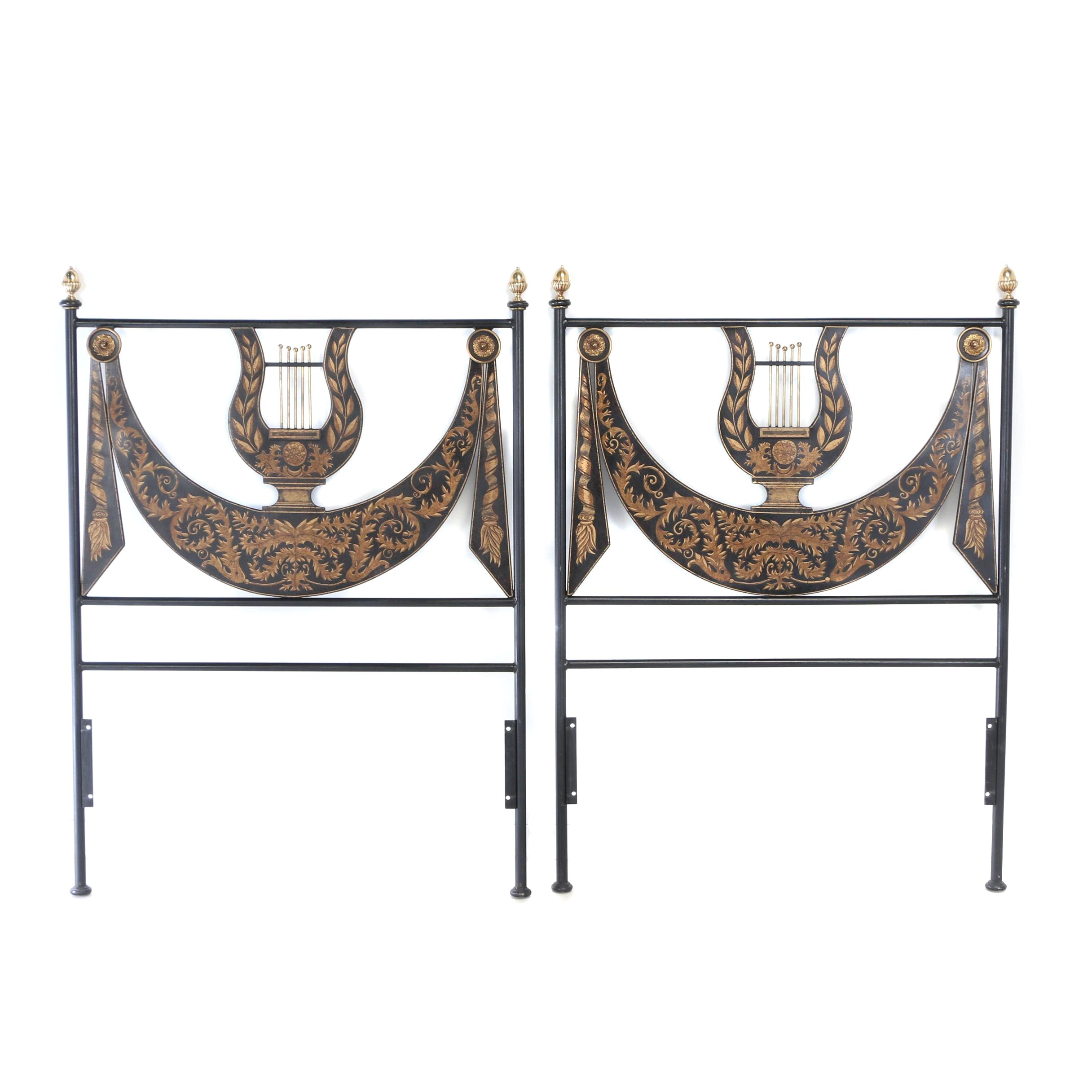 Pair of Contemporary Neoclassical Style Brass-Mounted Metal Twin Size Headboards