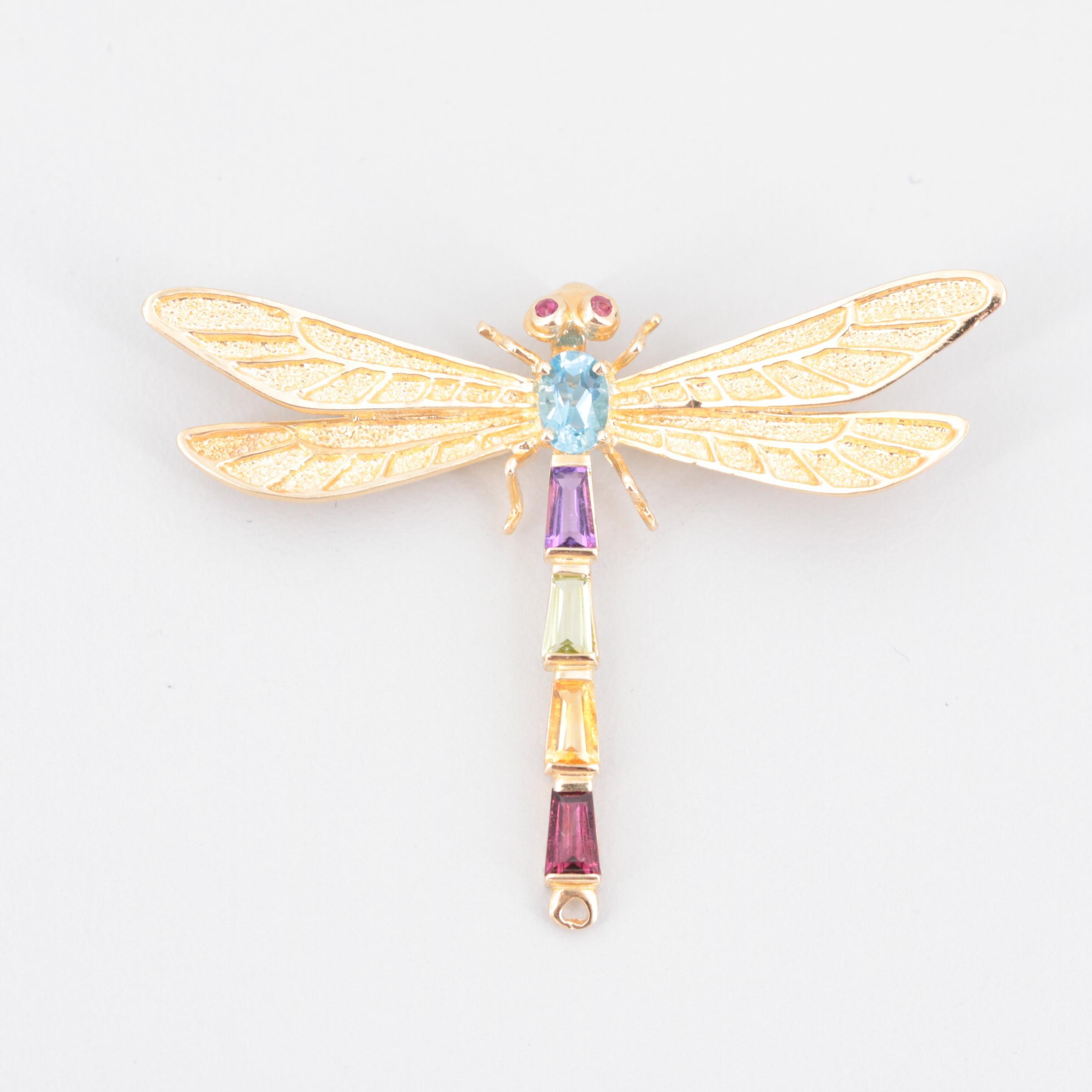 14K Yellow Gold Ruby, Topaz, Amethyst and Garnet Dragonfly Motif Brooch