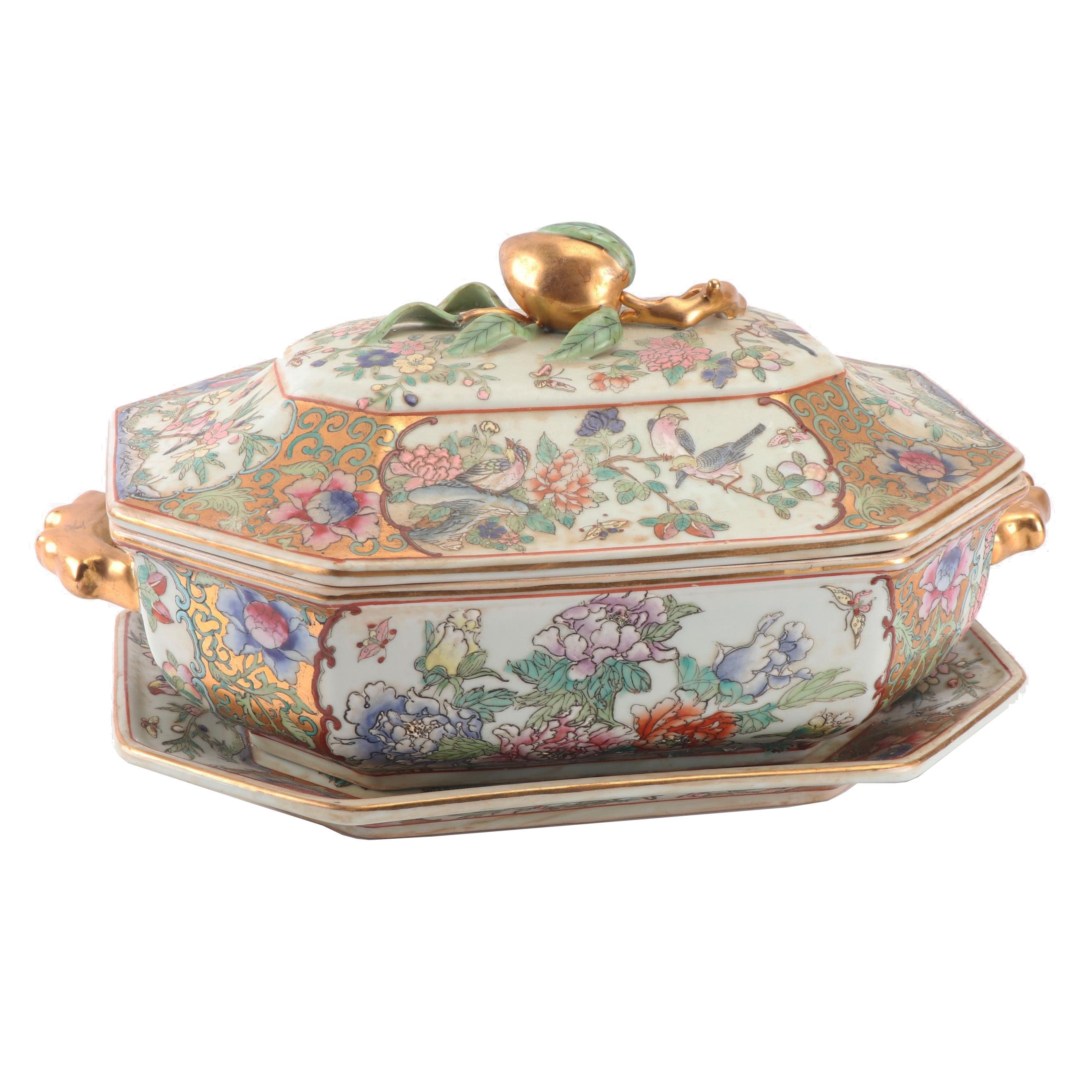 Chinese Rose Canton Porcelain Covered Tureen with Stand