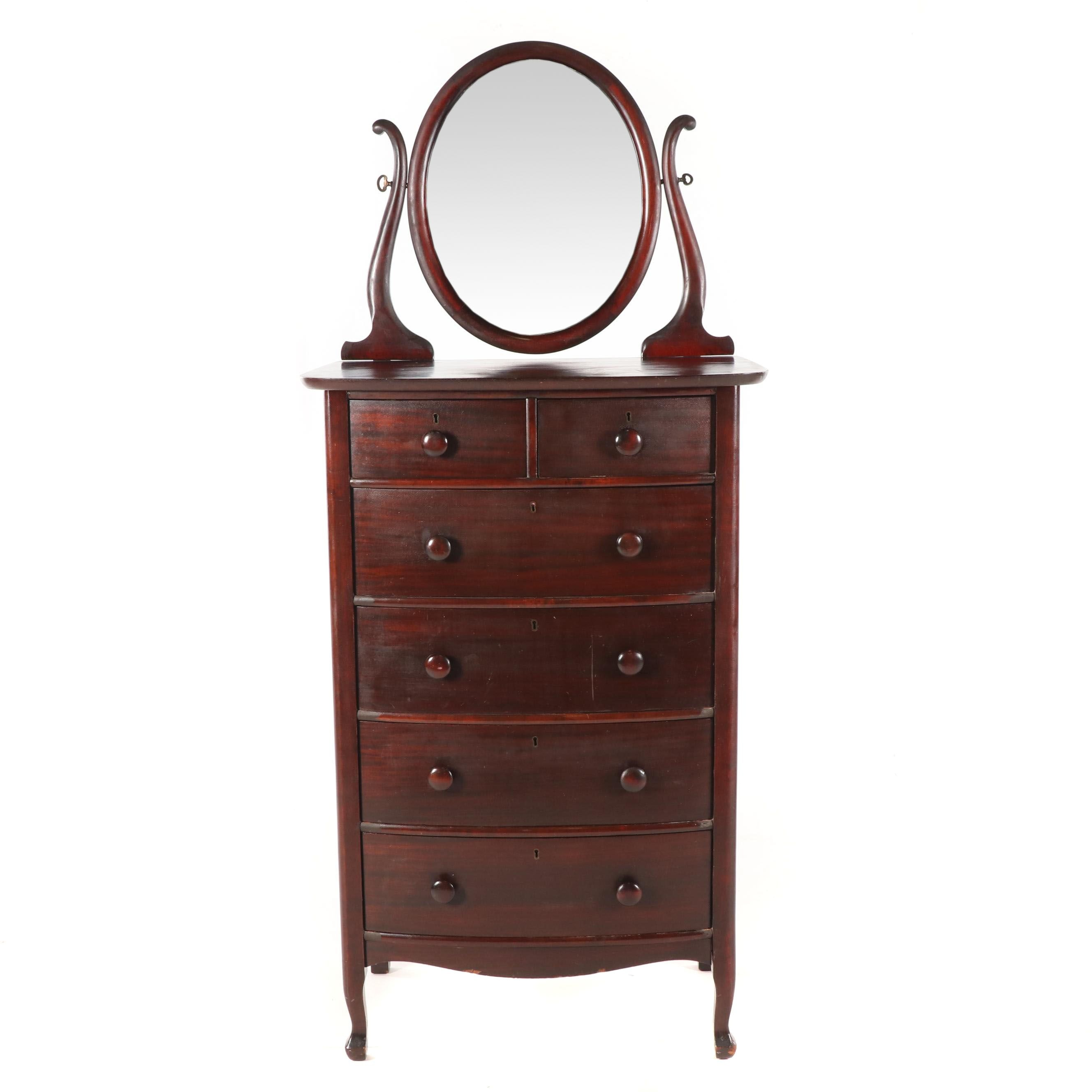 American Mahogany Bow Front Chest with Mirror, Early 20th Century