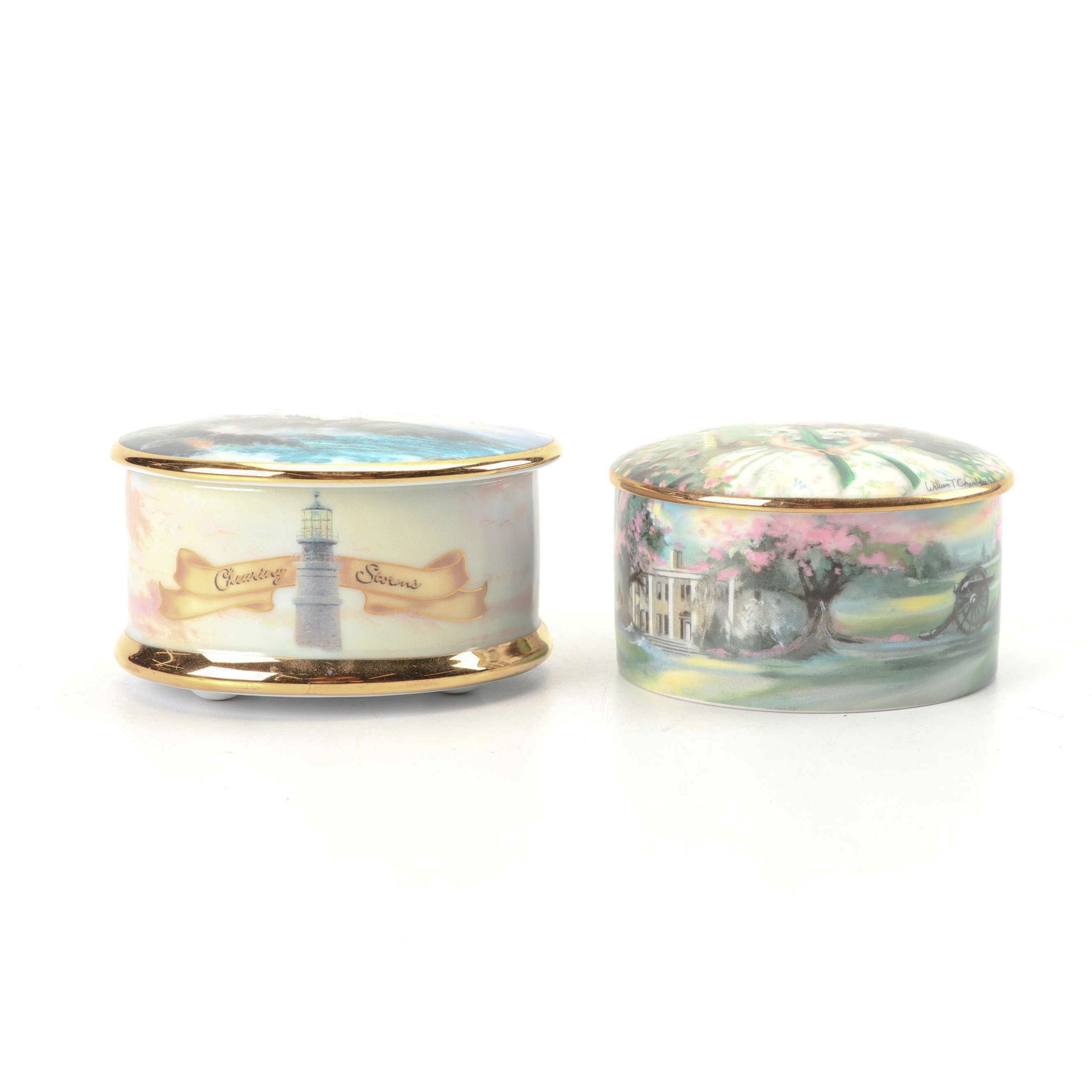 """Gone With The Wind"" and Thomas Kinkade Themed Musical Porcelain Boxes"