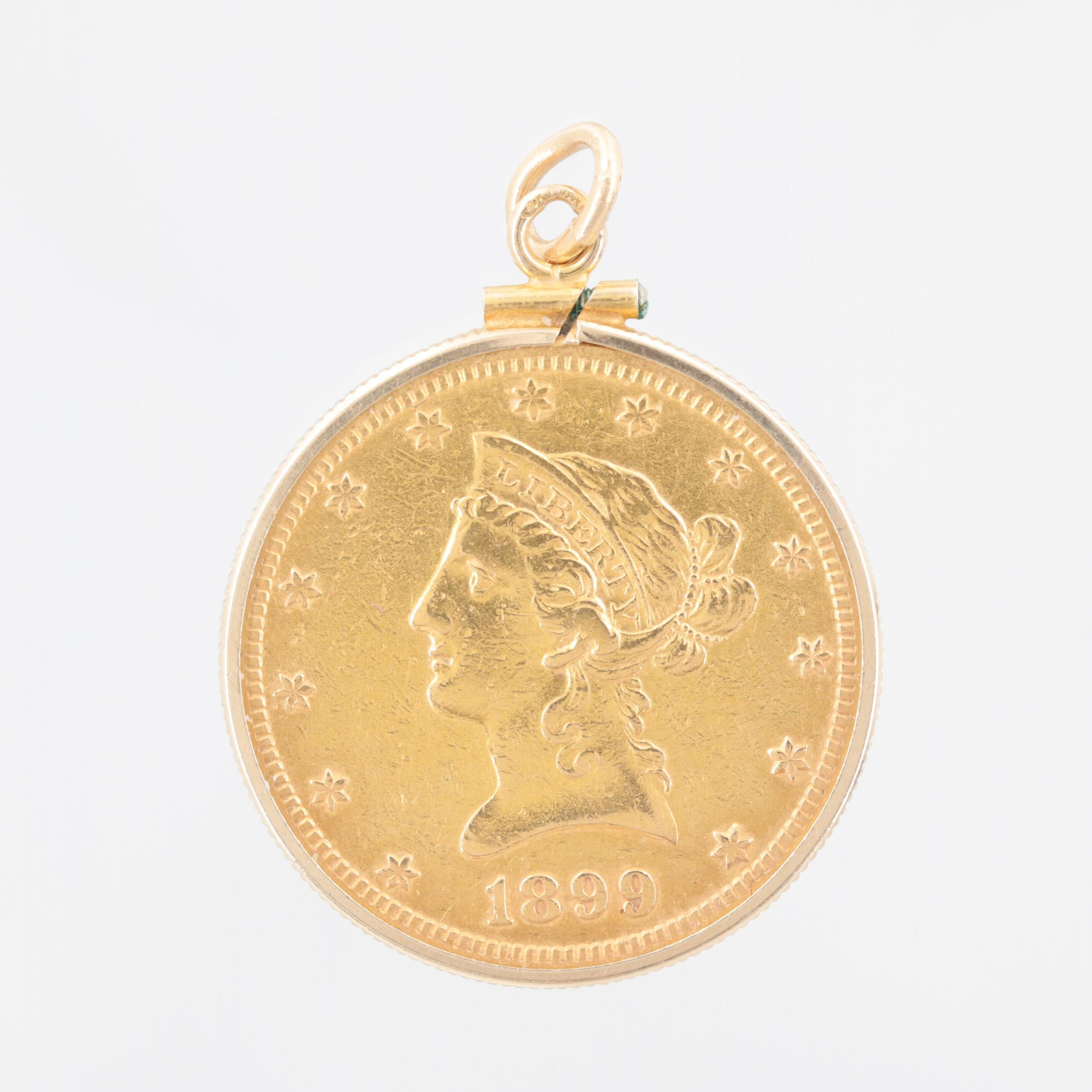 14K Yellow Gold Pendant with a 1899-S Liberty Head $10 Gold Eagle