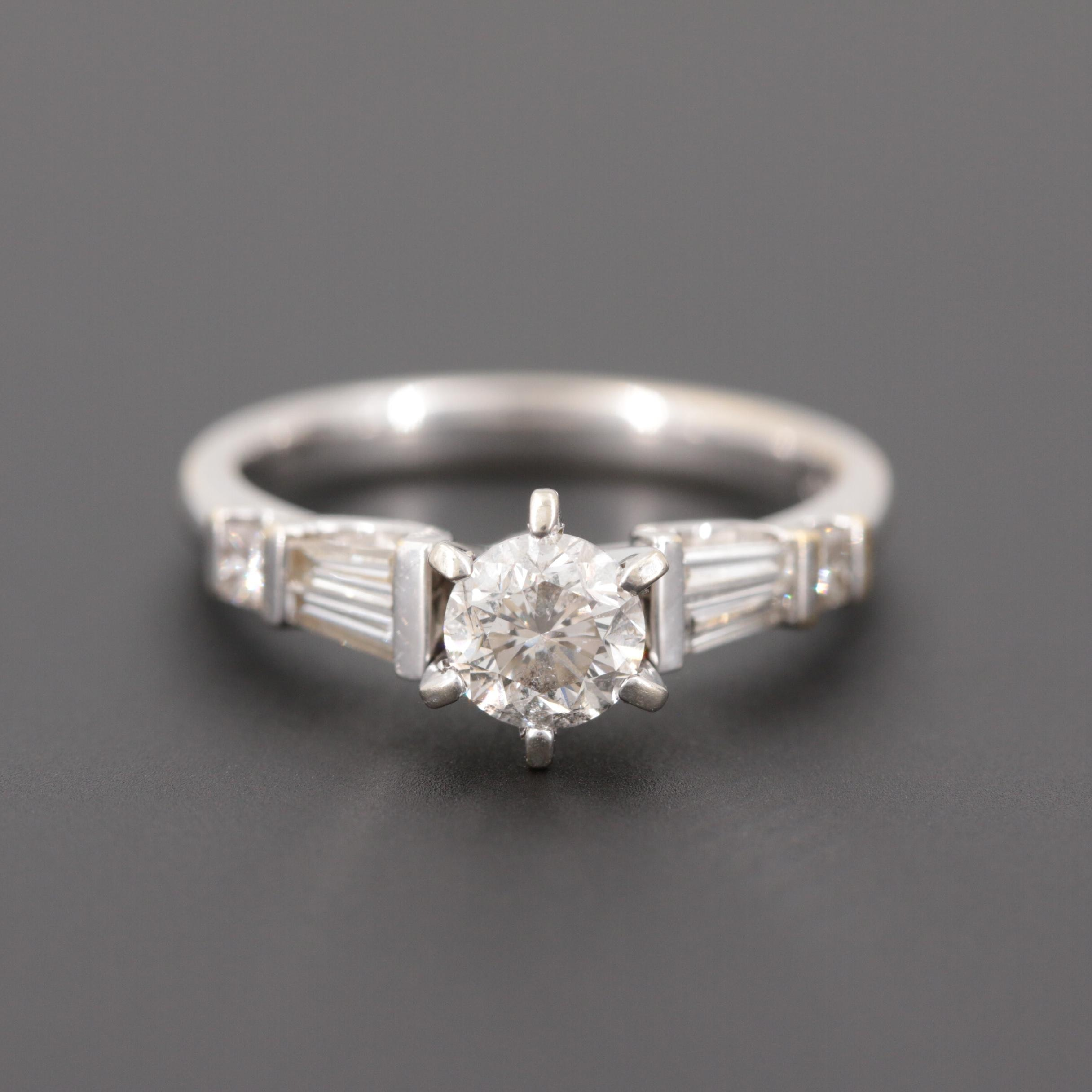 18K White Gold 1.08 CTW Diamond Ring