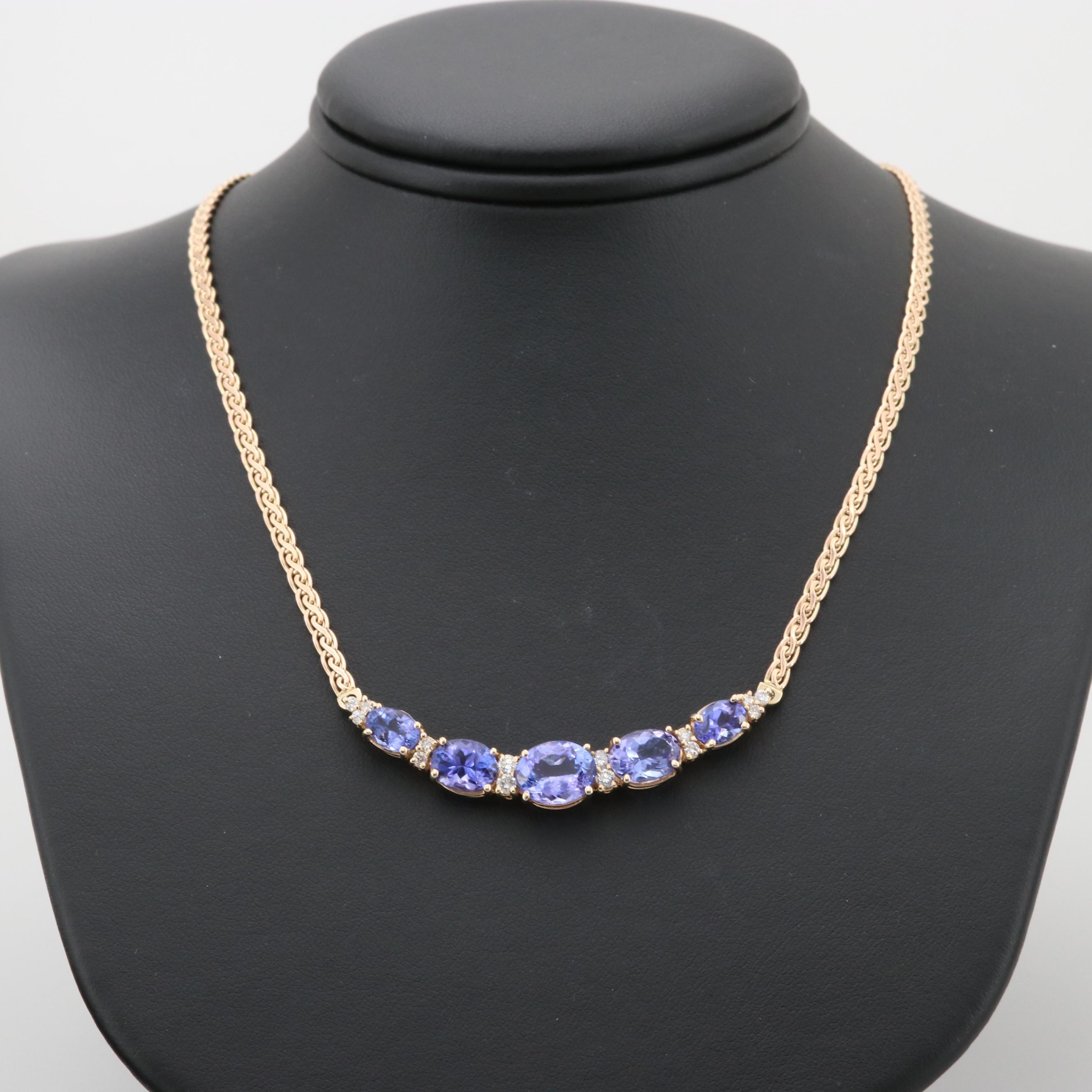 10K, 14K and 18K Yellow Gold Tanzanite and Diamond Necklace