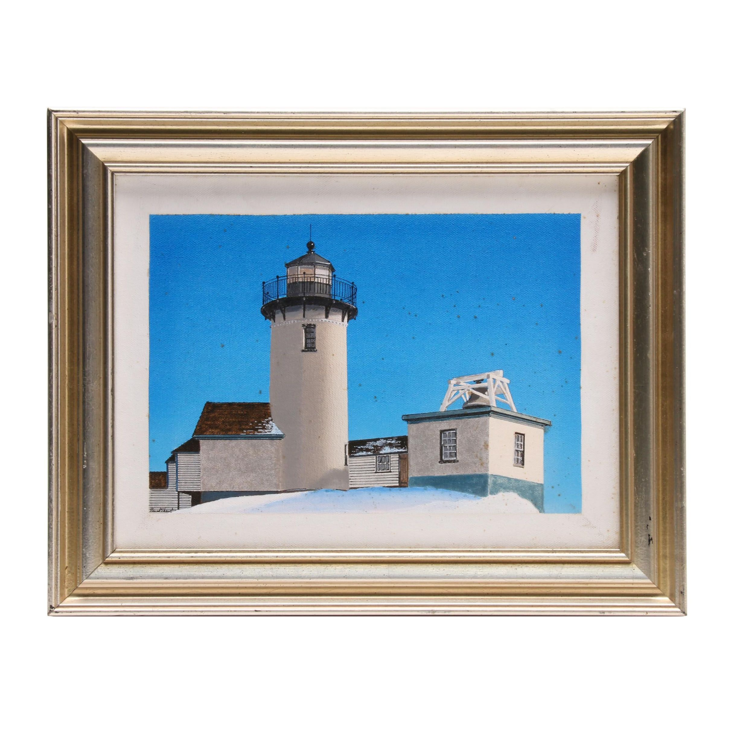 "Paul Shaub Acrylic Painting ""Eastern Point Light, Glouceter, Massachusetts"""