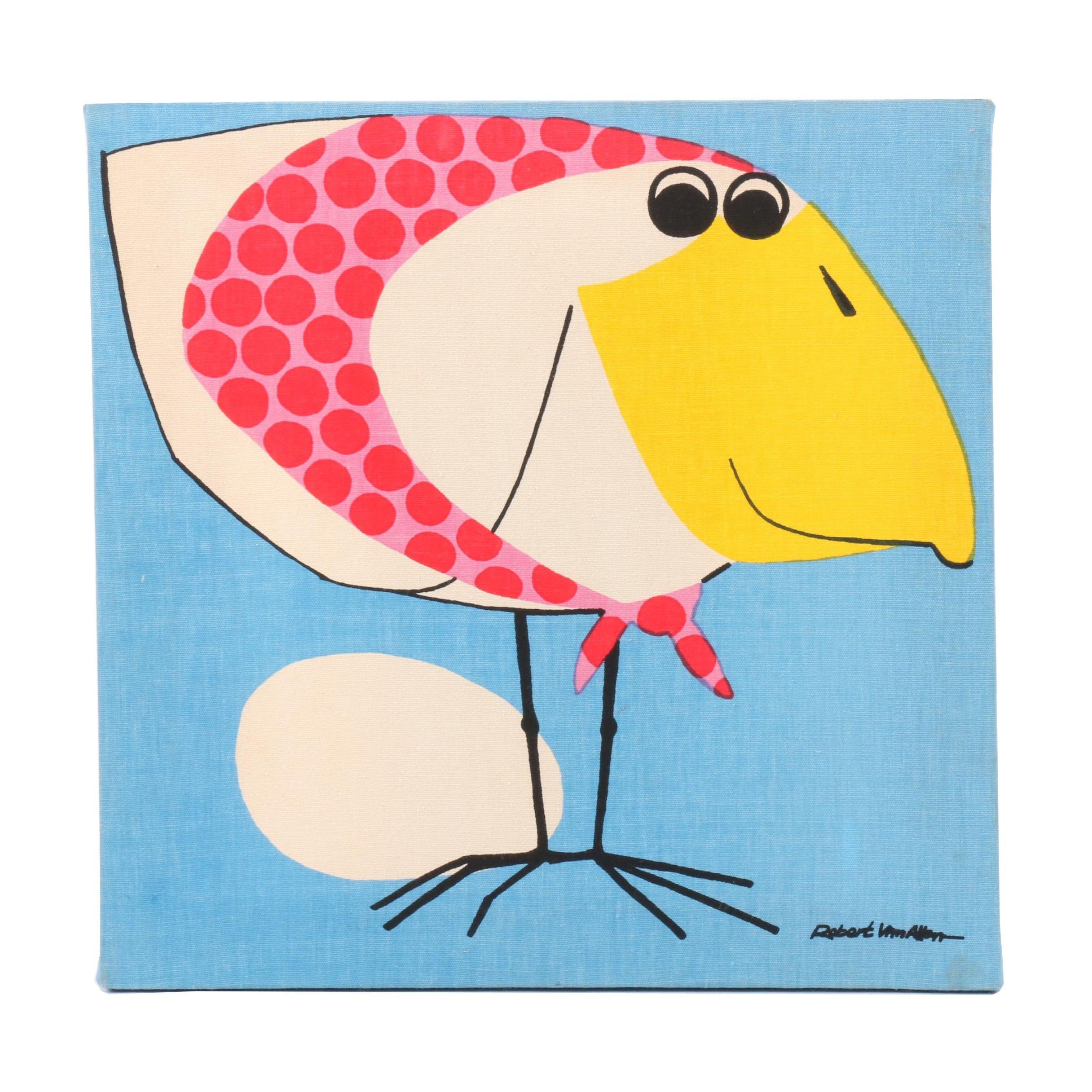Robert Van Allen Serigraph of Bird with Egg