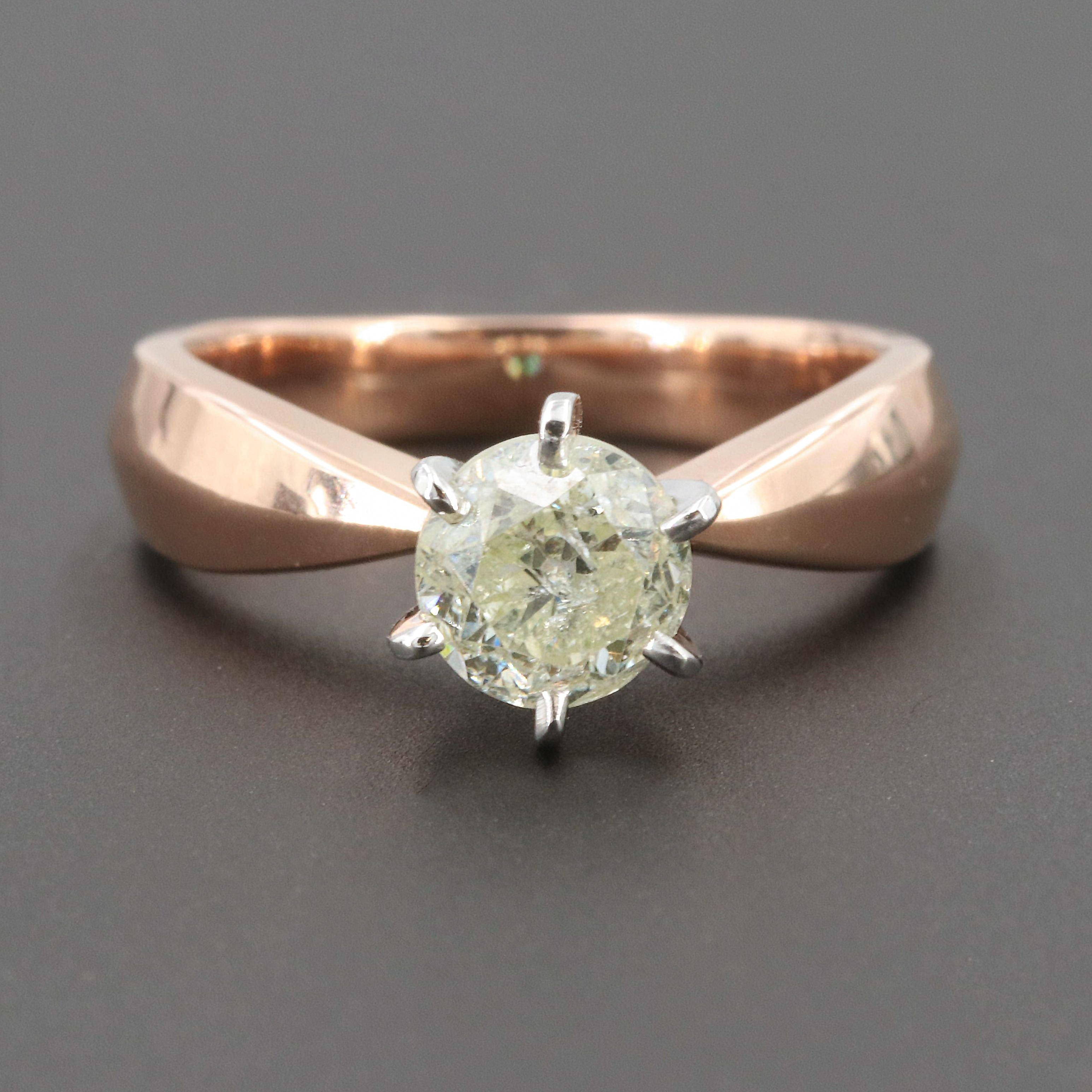 14K Rose and White Gold Diamond Ring with Tapered Knife Edge Shank
