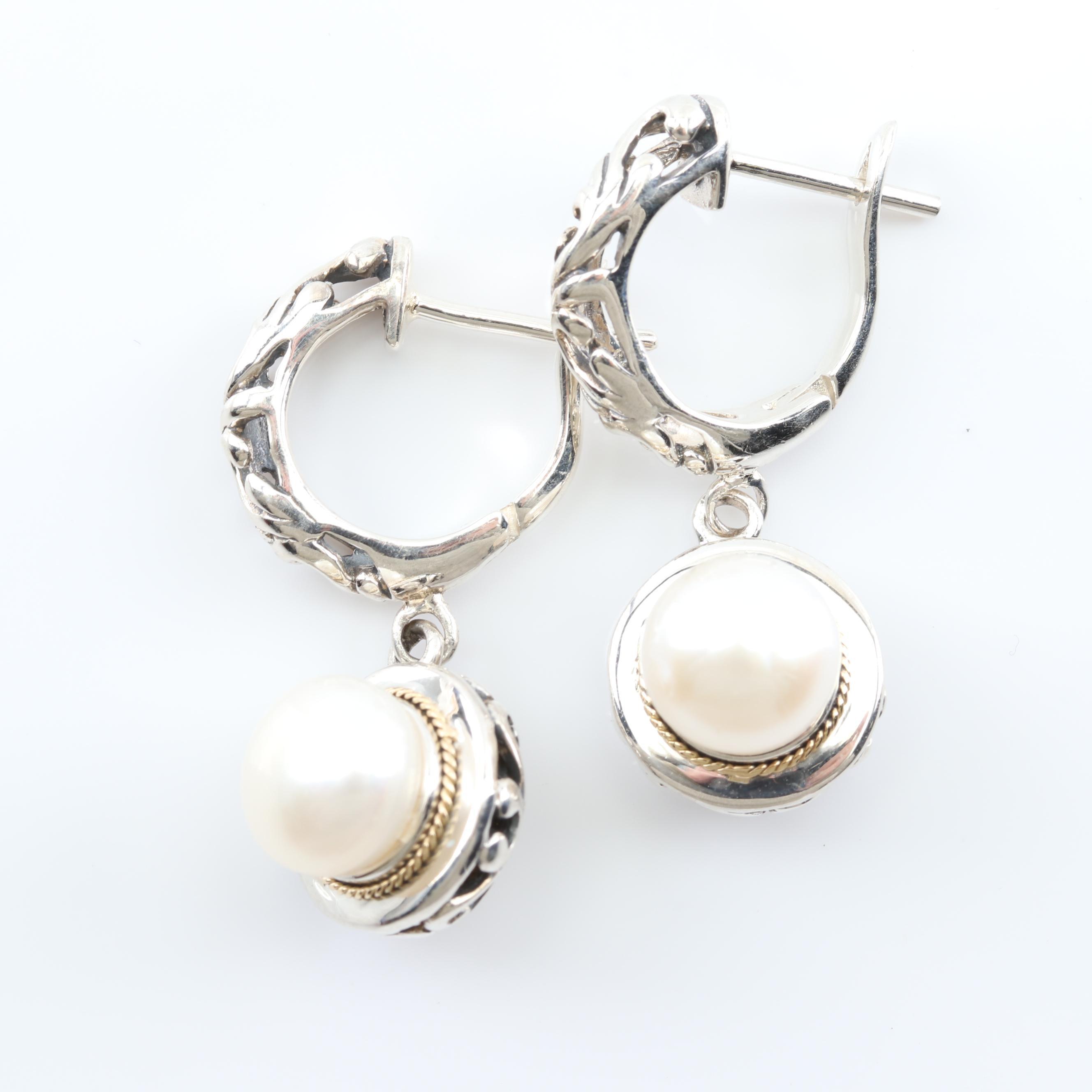 Eleganza Sterling Silver and 18K Yellow Gold Hoop Earrings