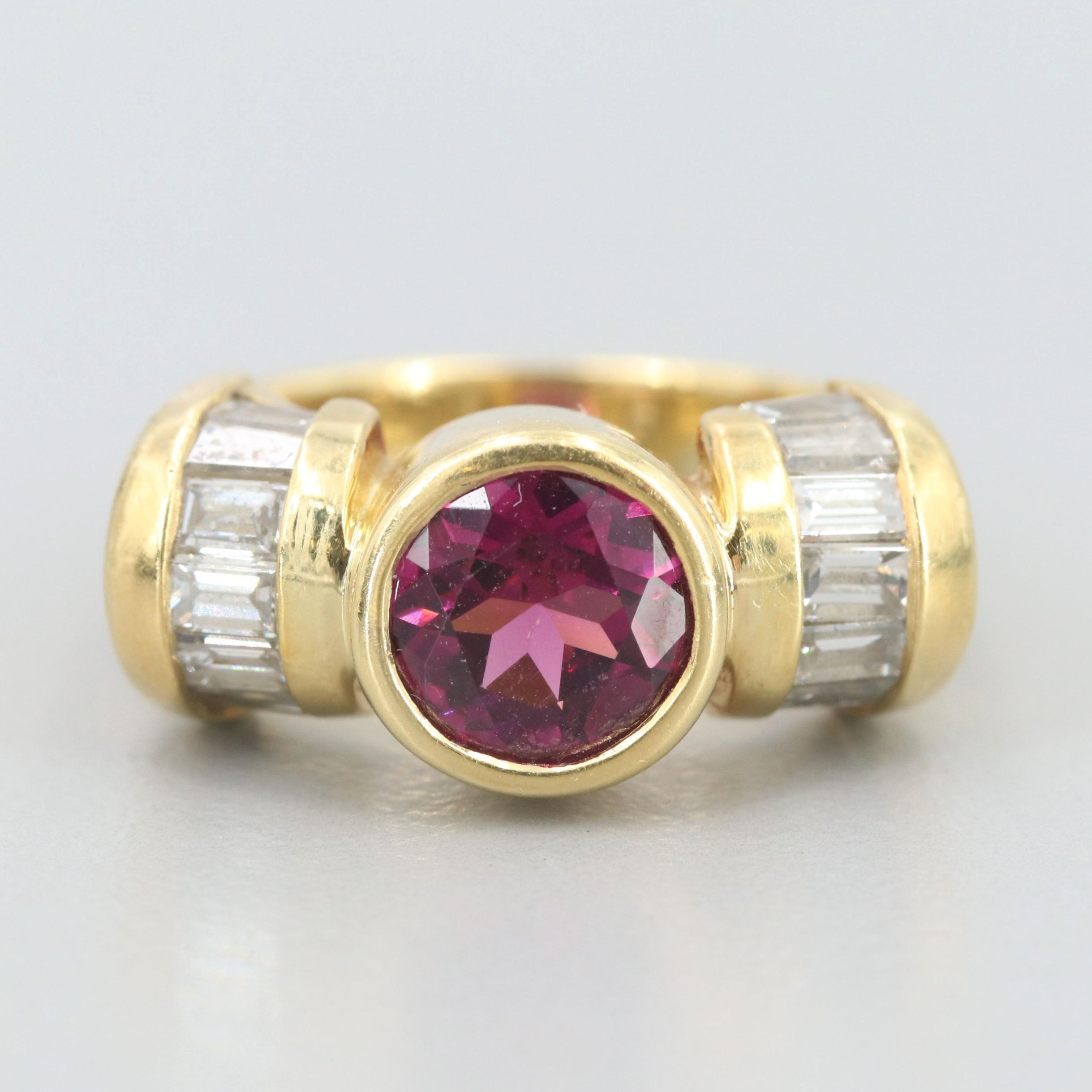 18K Yellow Gold Rhodolite and 1.00 CTW Diamond Ring