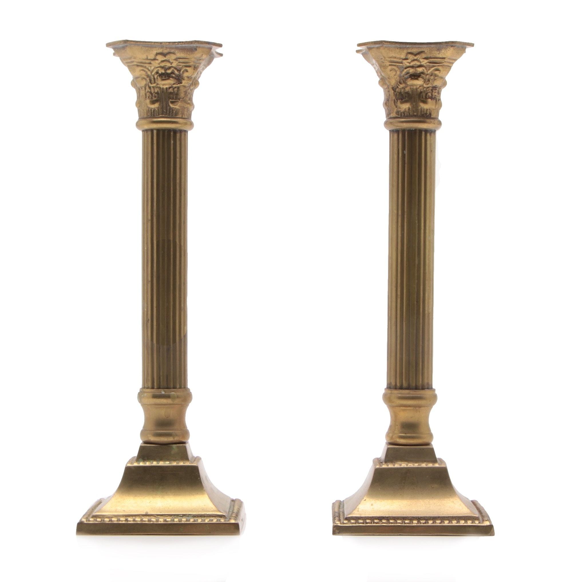 Cast Brass Corinthian Column Candlesticks