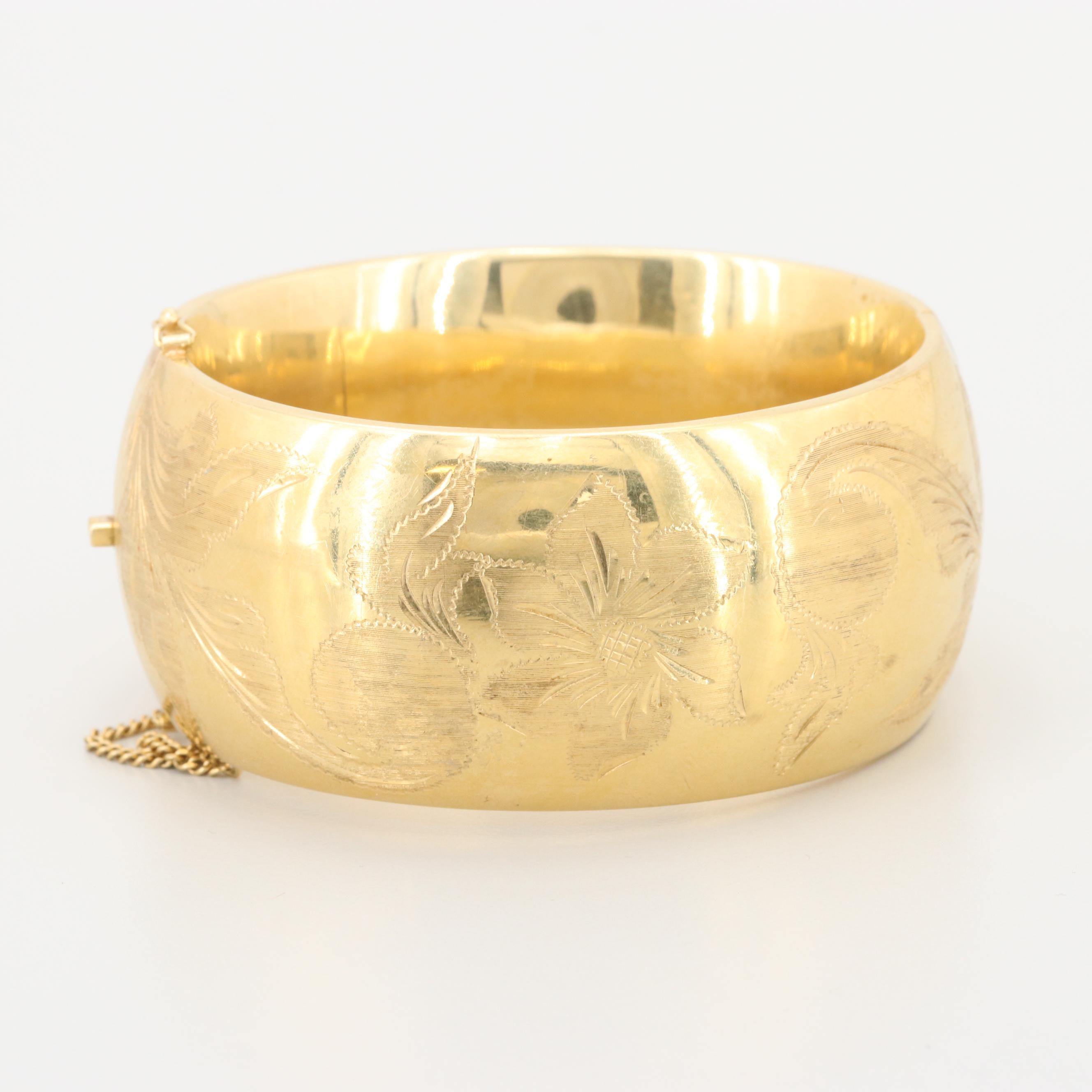 18K Yellow Gold Floral Motif Bracelet