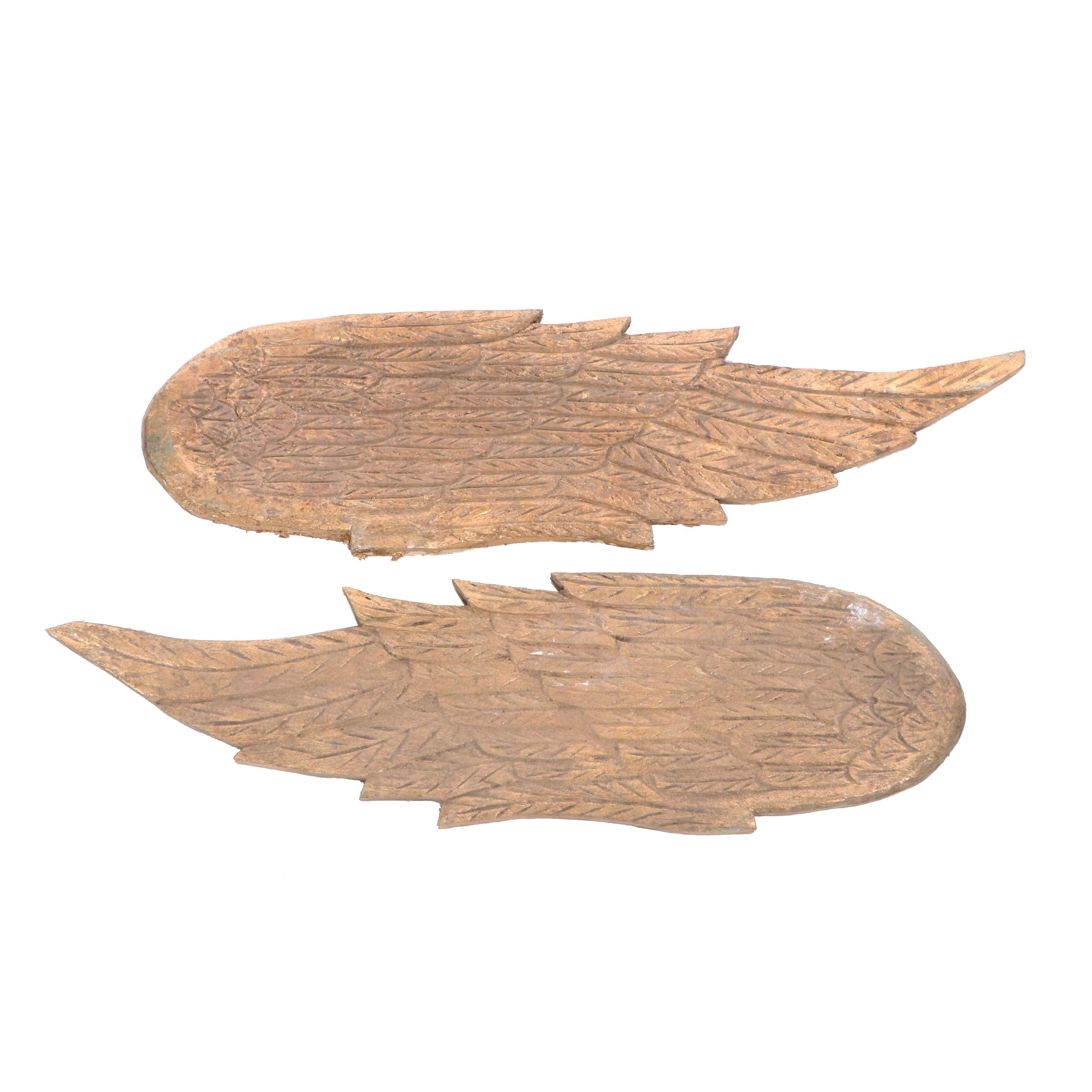 Decorative Carved Wood Wings with Gold Leaf
