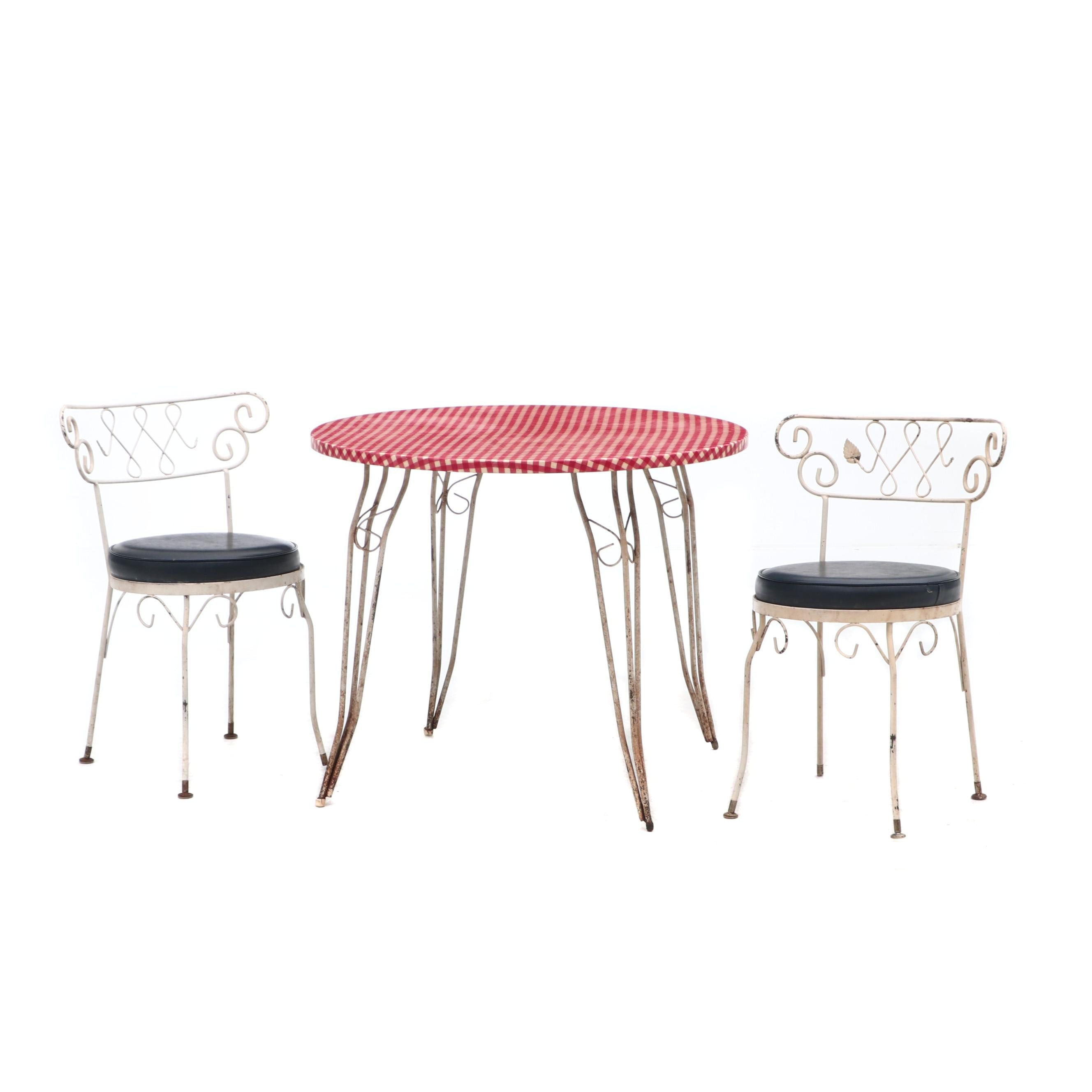 Wrought Iron Dinette Table and Bistro Chairs