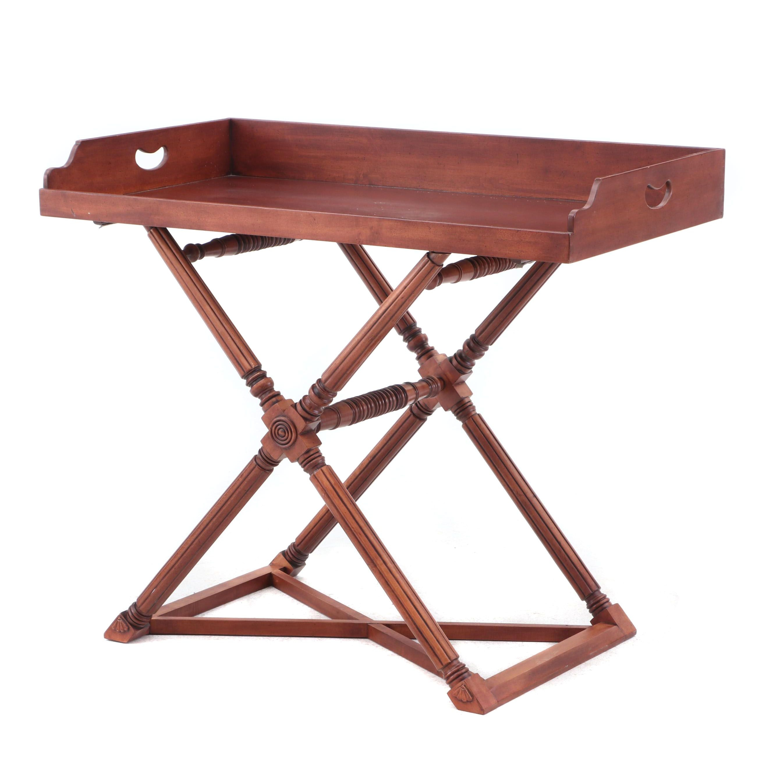 Mahogany Butler's Tray Table on Turned Stand