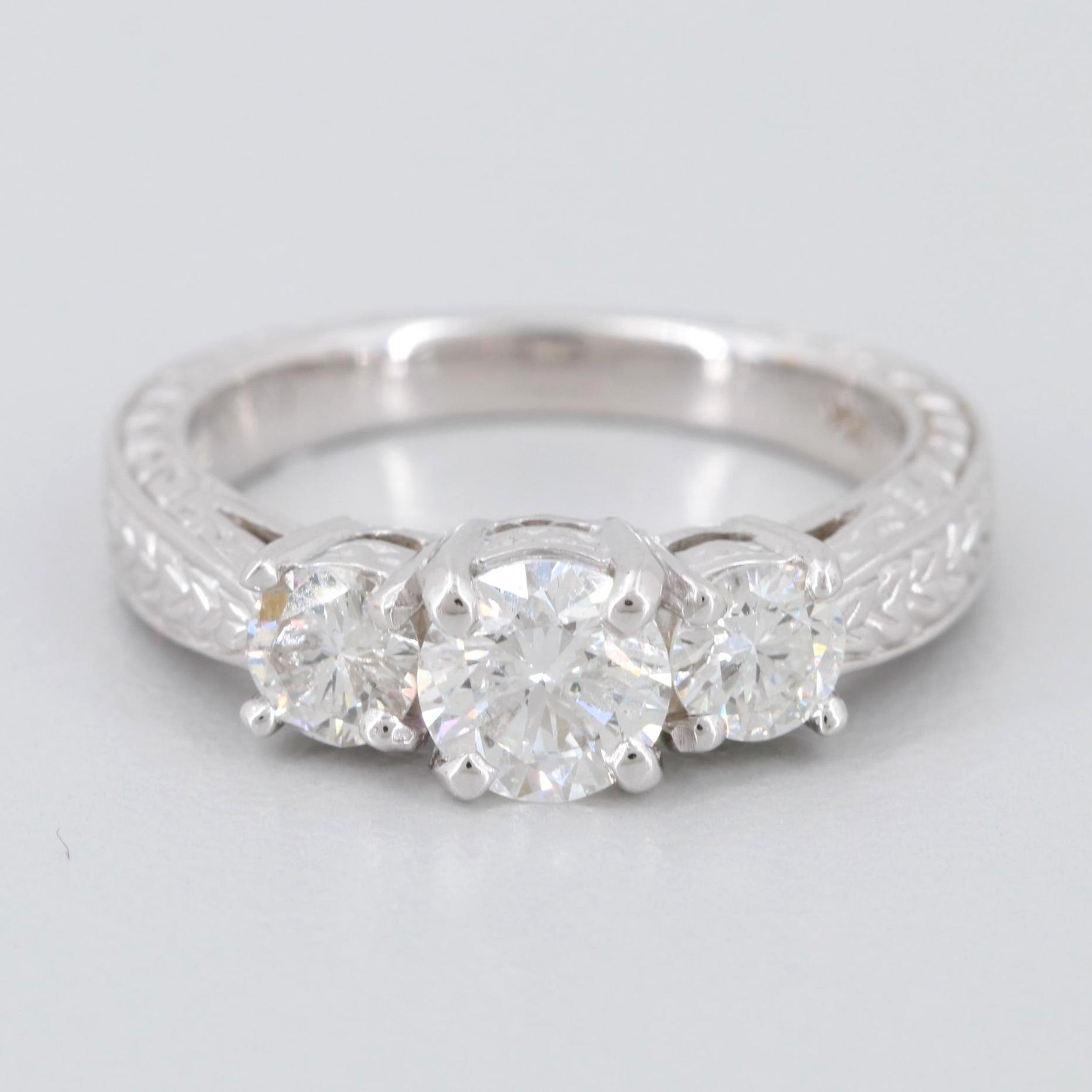 14K White Gold 1.20 CTW Diamond Ring