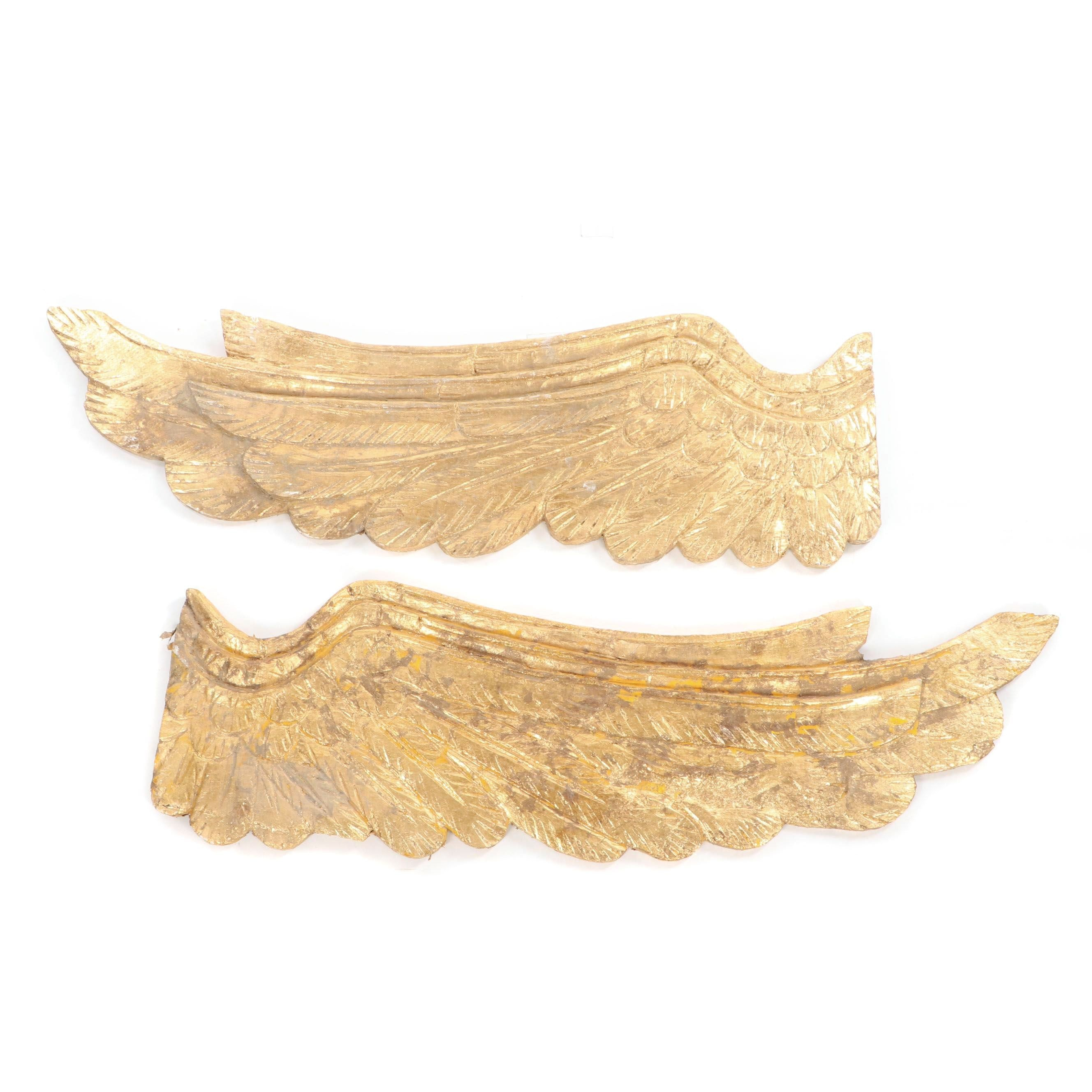 Gold Painted Carved Wood Wings