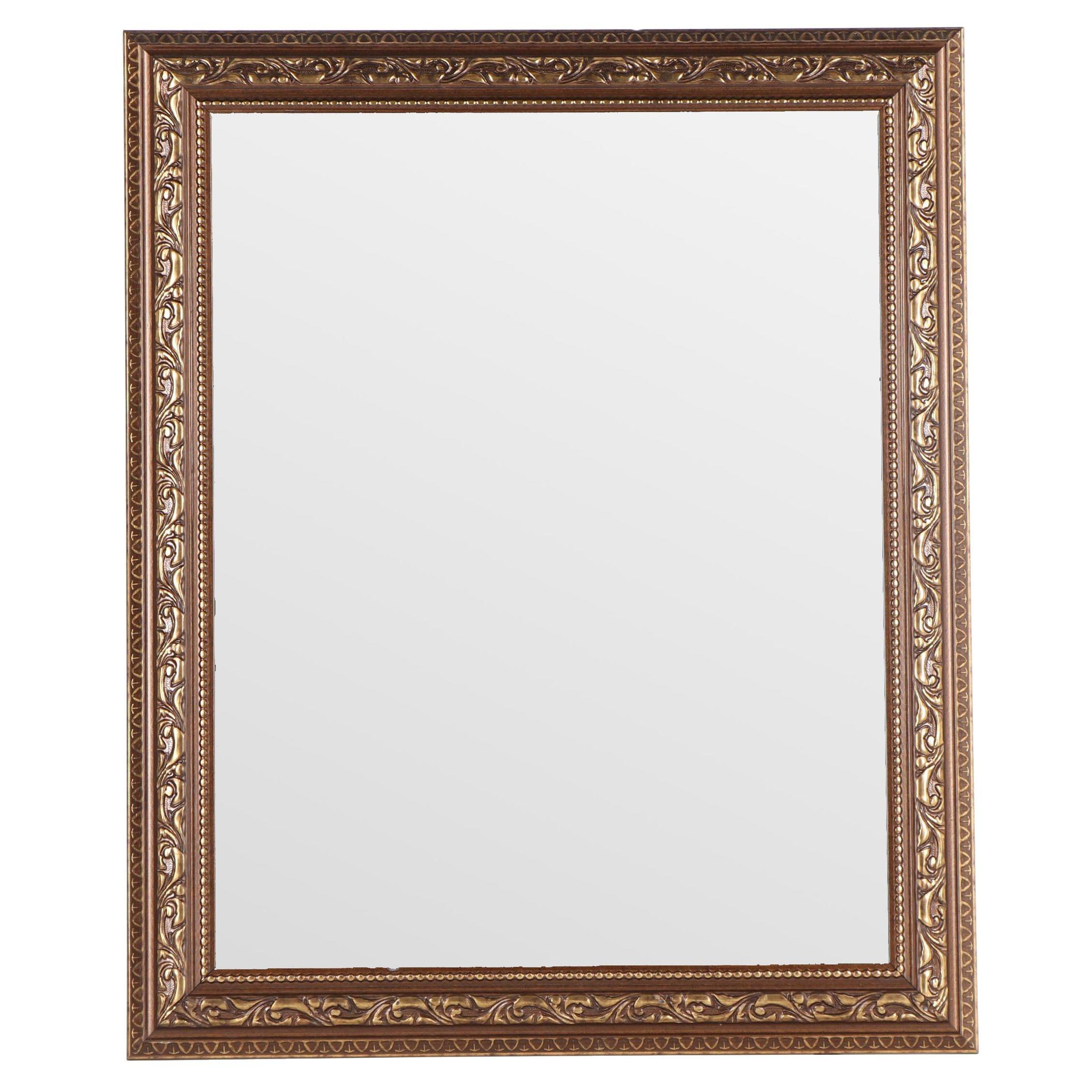 Beveled Mirror with Metallic Foliate Themed Frame