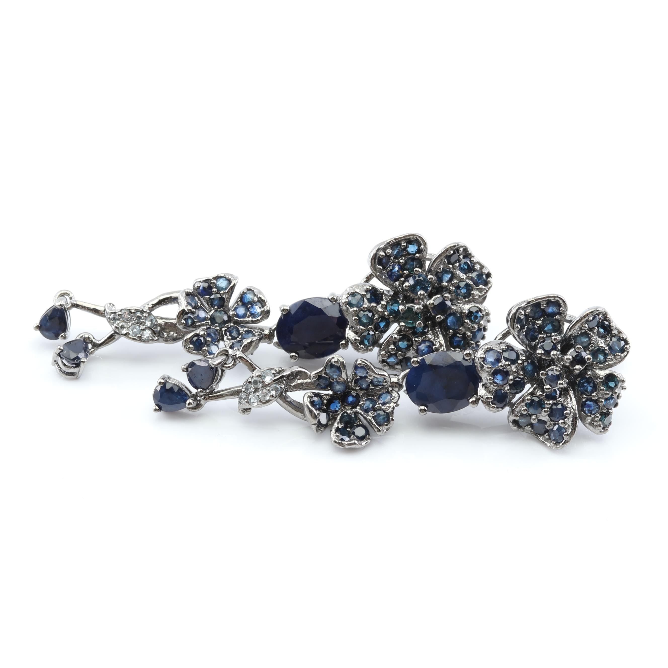 Sterling Silver 11.76 CTW Sapphire and Topaz Flower Earrings