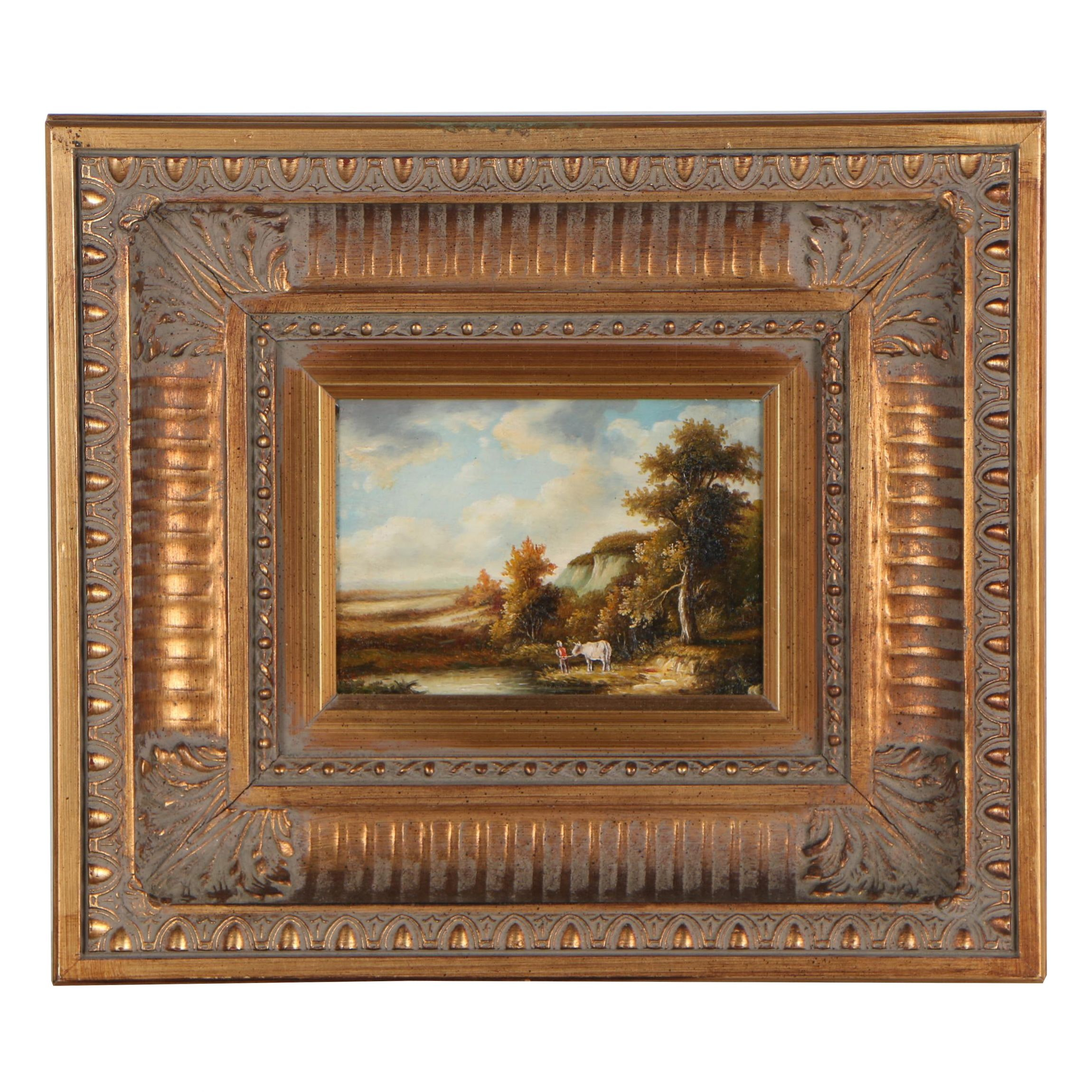 Mid 20th Century Oil Painting of Pastoral Landscape