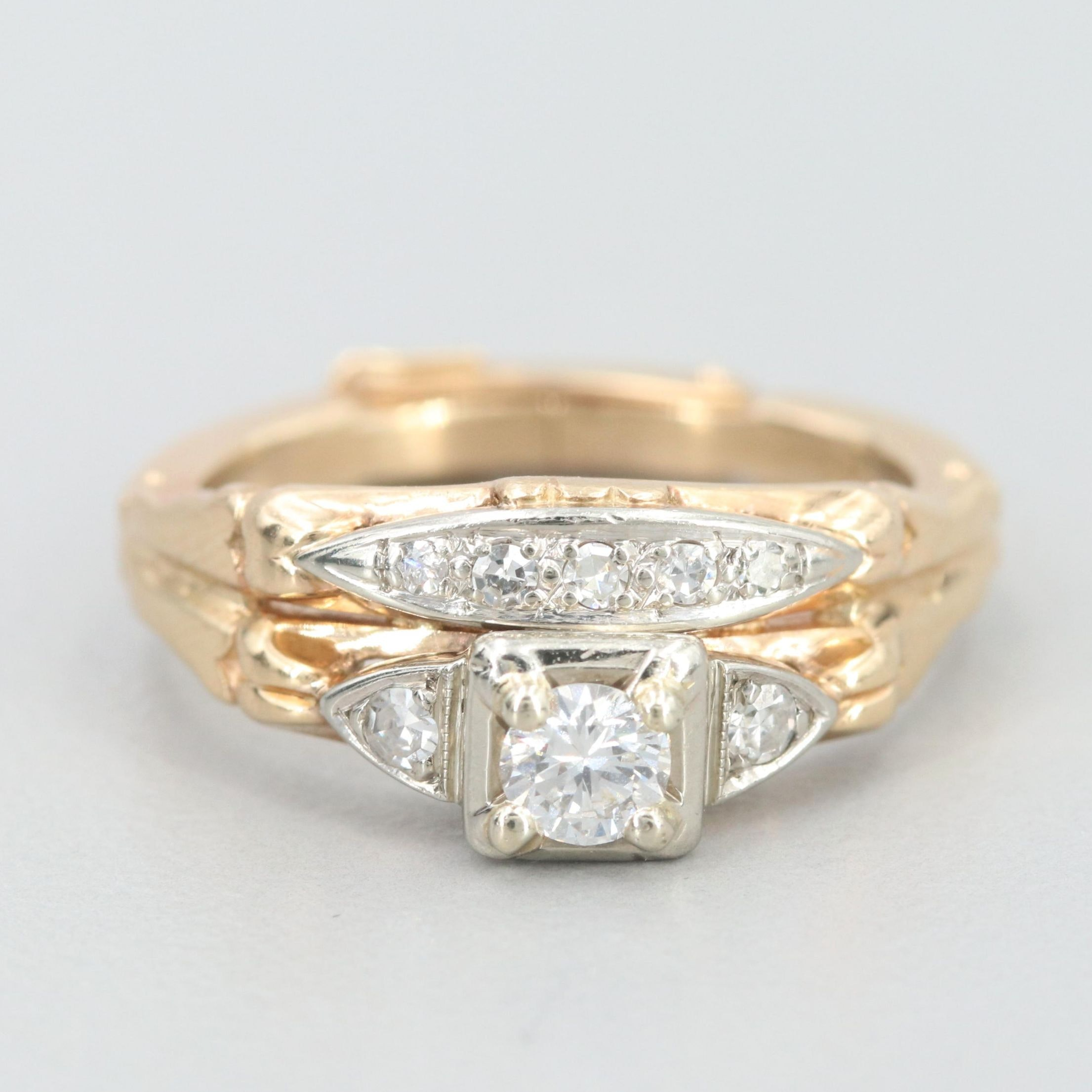 14K White and Yellow Gold Diamond Ring with Arthritic Shank