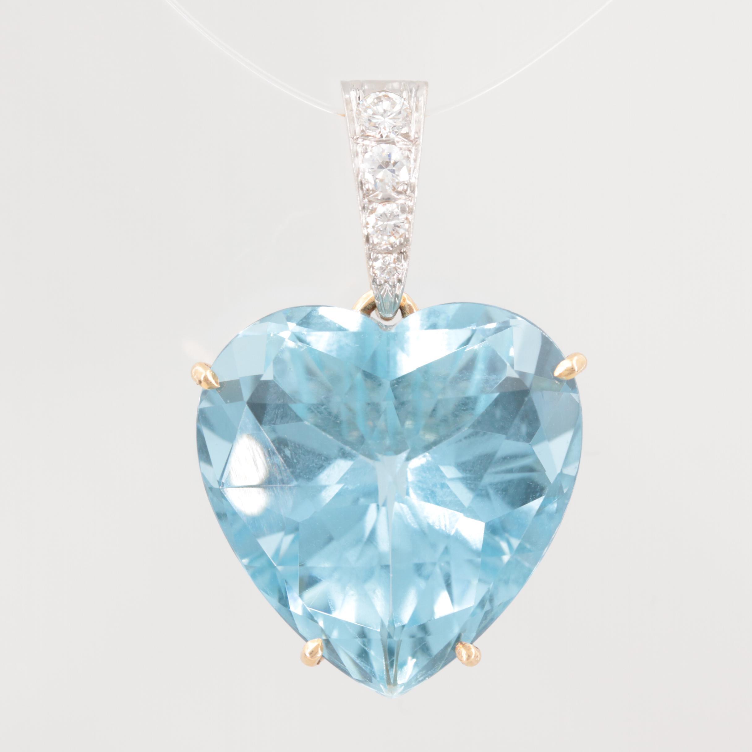 14K Yellow Gold and Platinum 32.92 CT Aquamarine and Diamond Heart Pendant