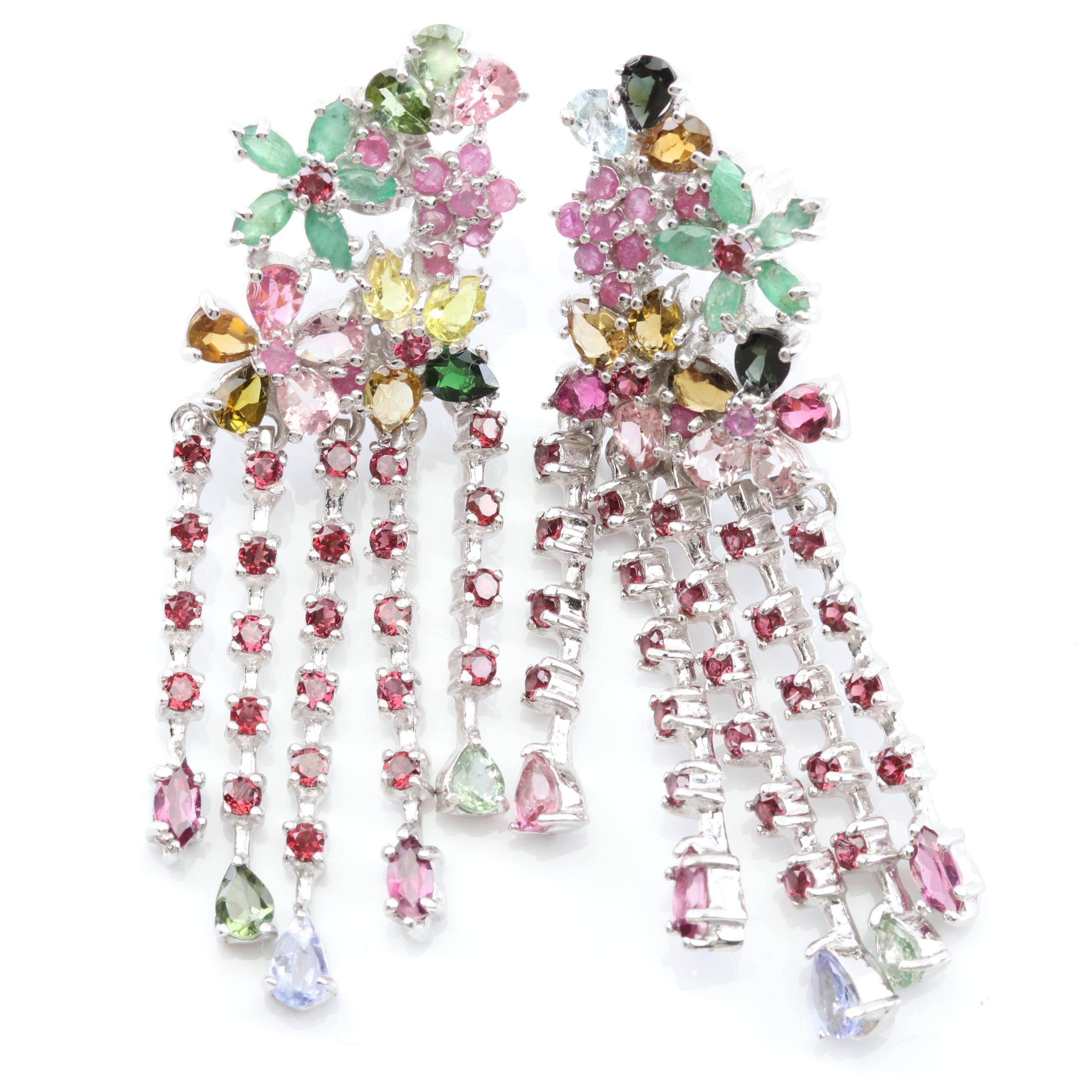Sterling Silver Multi-Gemstone Flower Earrings