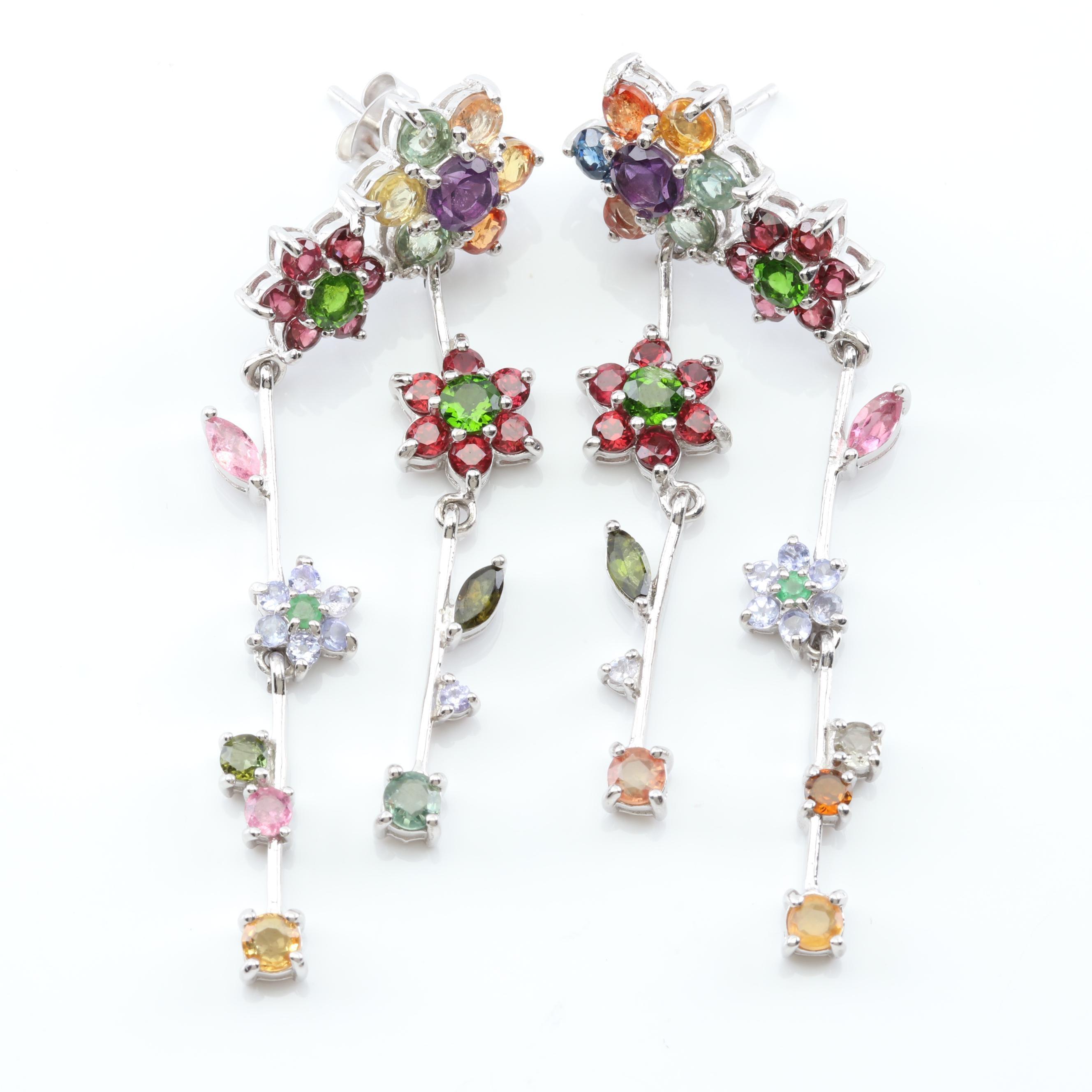 Sterling Silver Multi-Gemstone Flower Dangle Earrings