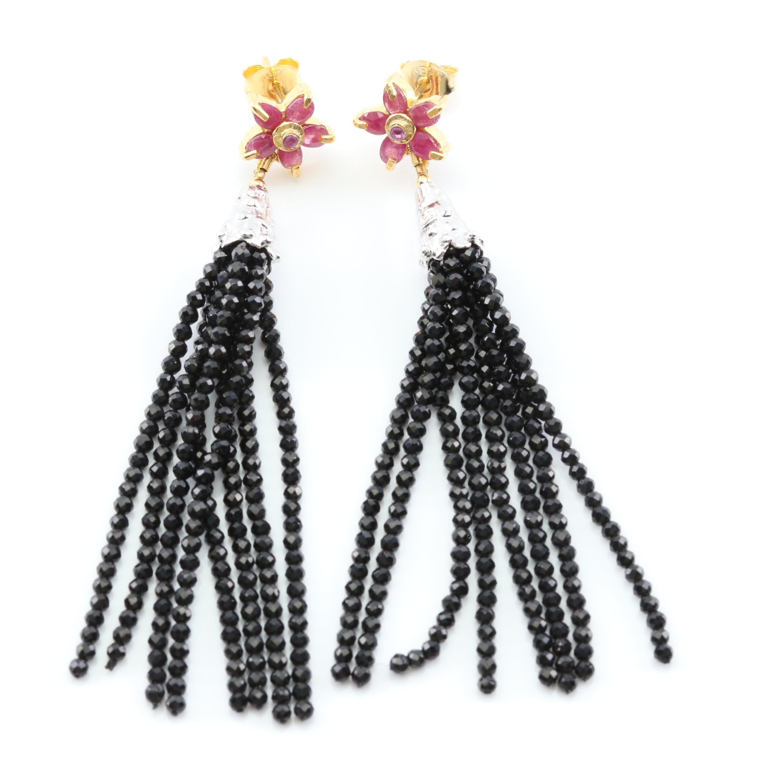 Sterling Silver Ruby Flower Top Earrings with Black Spinel Bead Tassels