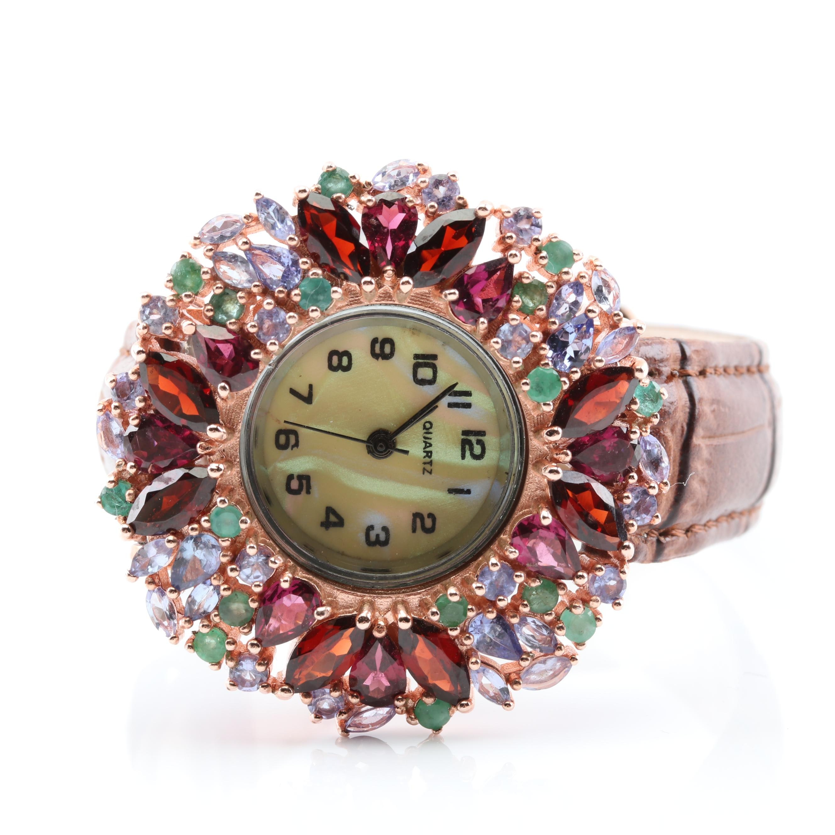 Silver Plated Multi-Gemstone Quartz Watch