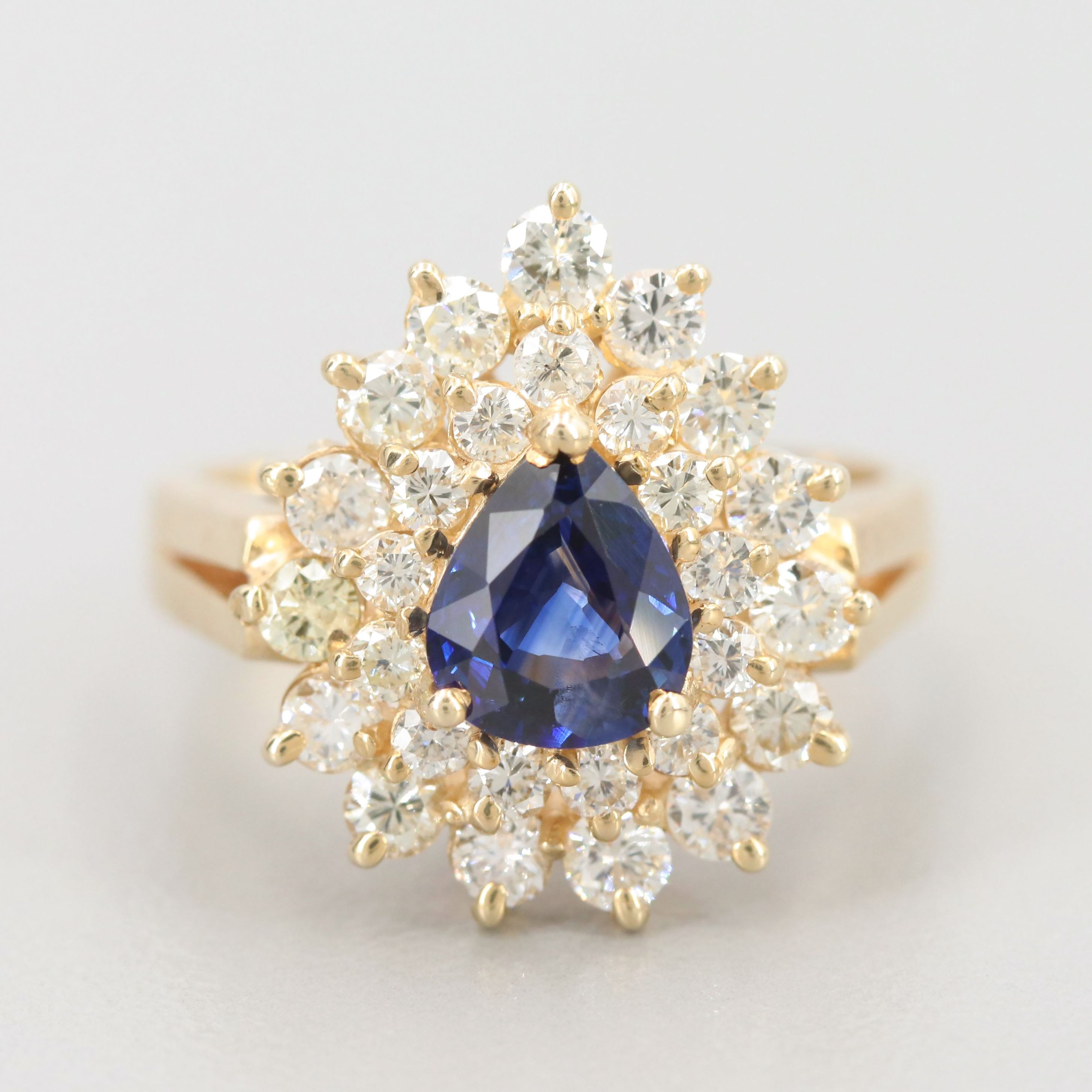 14K Yellow Gold Sapphire and 1.05 CTW Diamond Cluster Ring